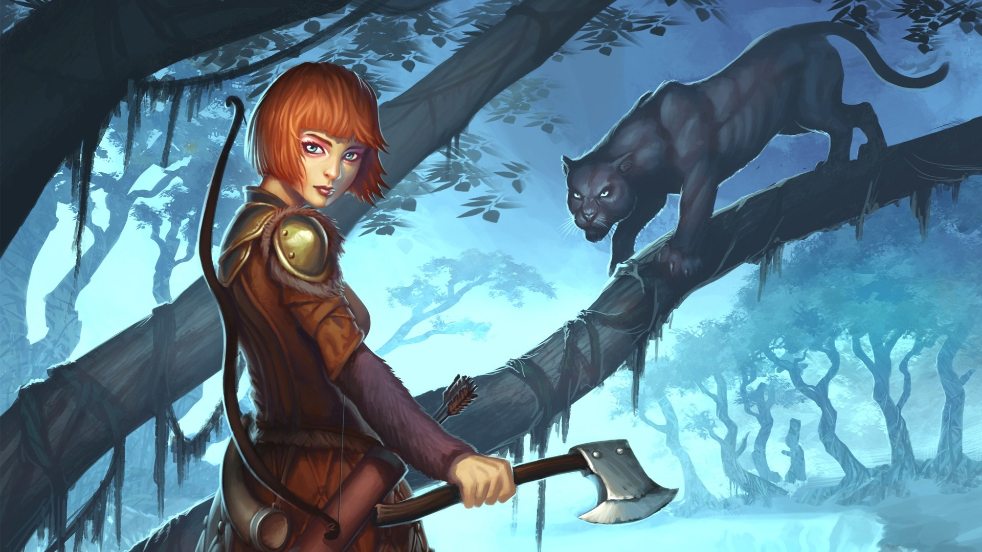 1920x1080 Preview wallpaper guild wars 2, ranger, girl, panther
