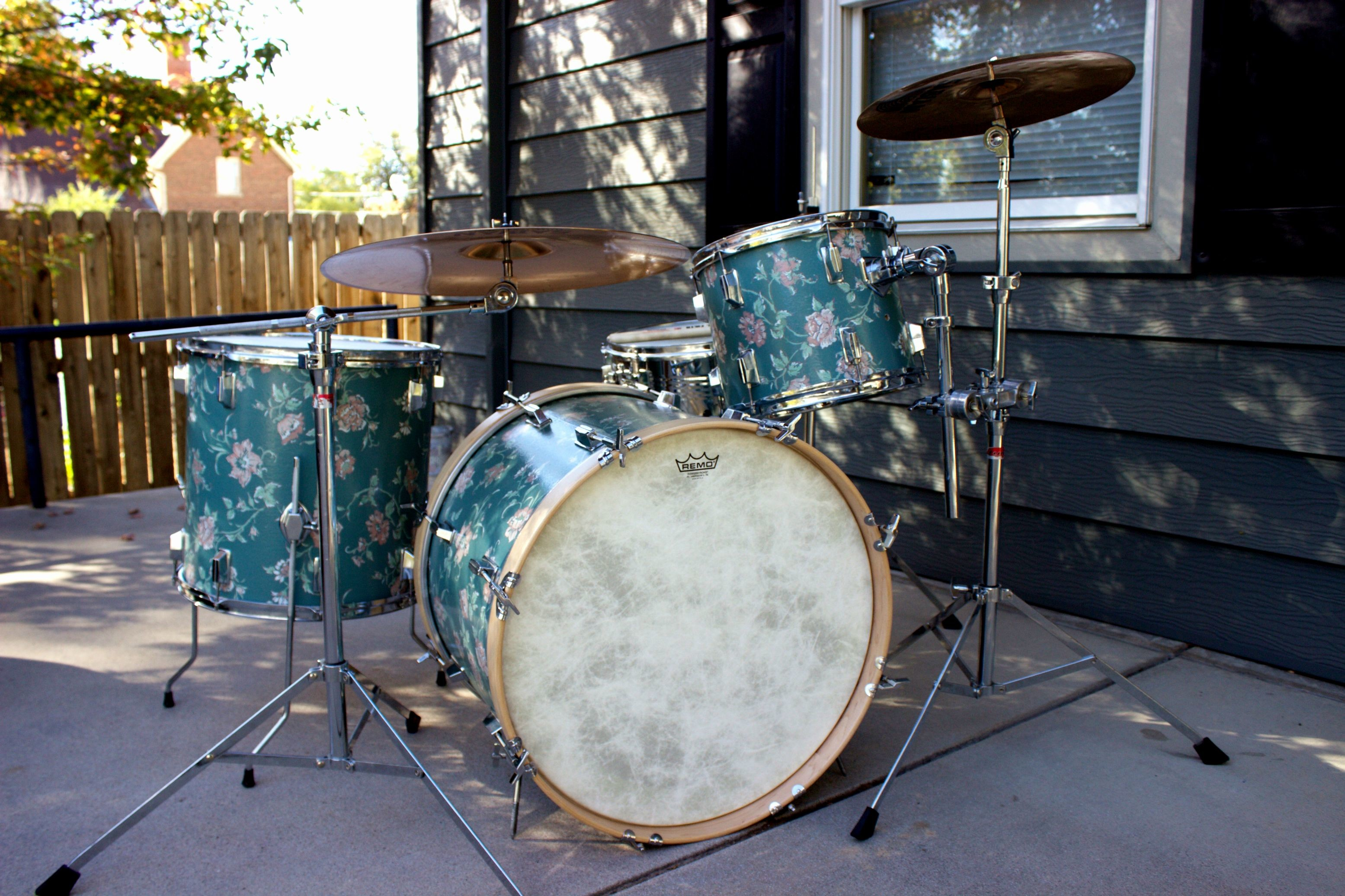3110x2073 So I refinished my drum set with wallpaper.