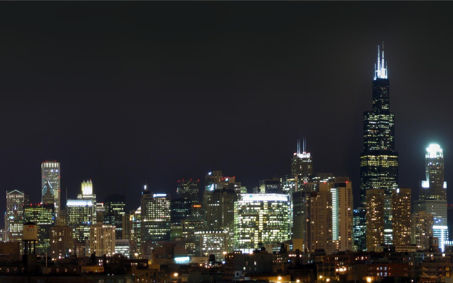 Chicago skyline hd wallpaper 77 images - Skyline night wallpaper ...