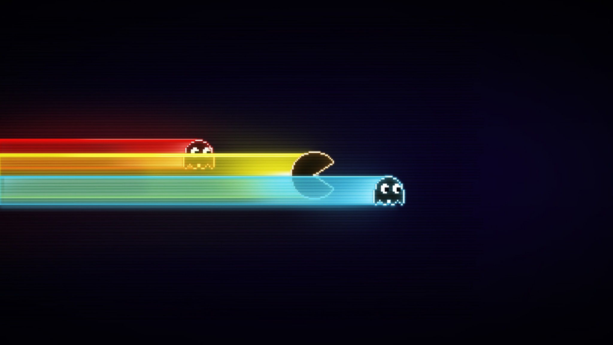2048x1152 Preview wallpaper pacman, game, graphics, speed, harassment