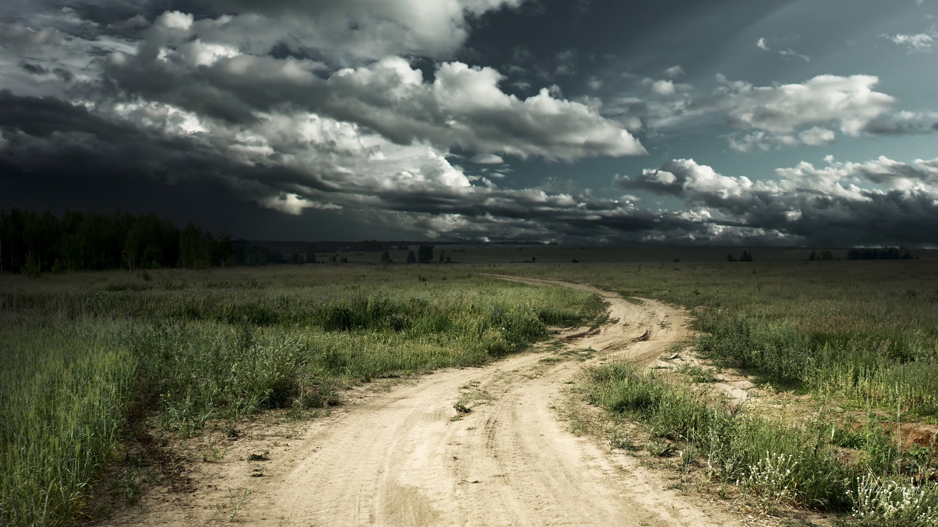 1920x1080 Stormy Tag - Road Stormy Sky Fields Path Farm Dark Country Tempestuous  Rough Tumultuous Rabid Storm