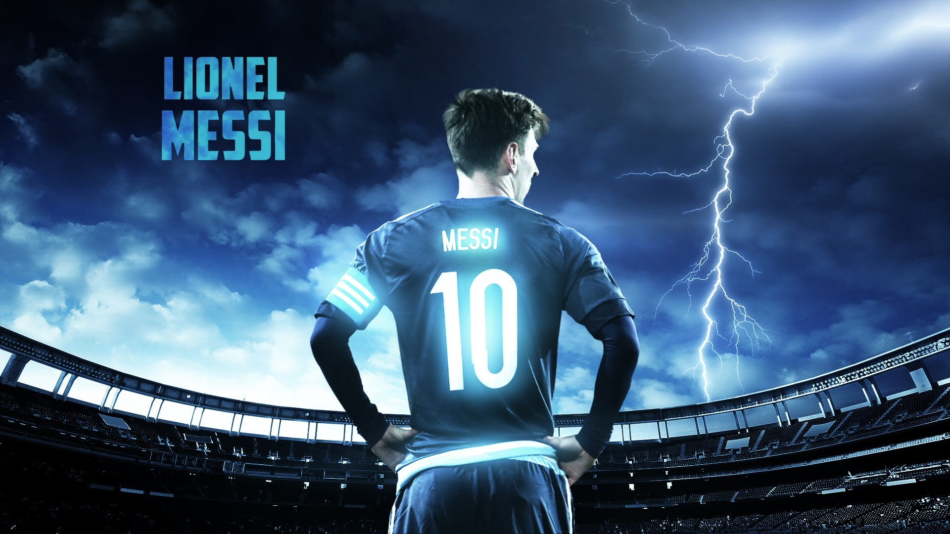 1920x1080 thunder stadium Leo Messi Lionel Messi screenshot player football player  computer wallpaper album cover