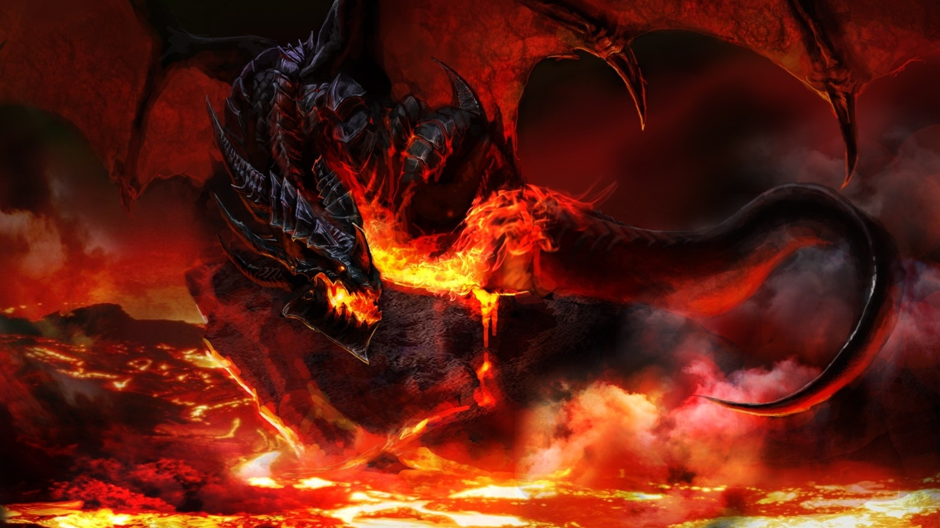 1920x1080 Preview wallpaper world of warcraft, dragon, fire, tail