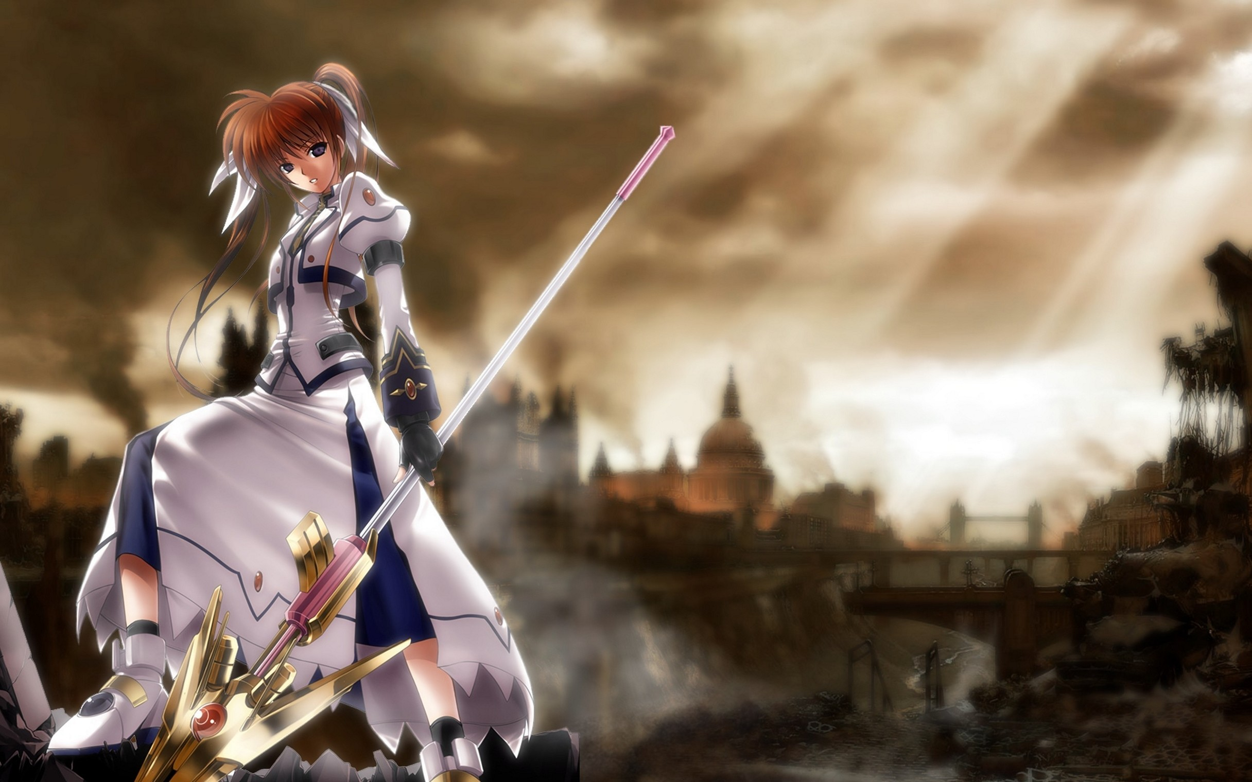 2432x1520 Magical Girl Lyrical Nanoha Girl Gun Landscape Warrior Anime Wild Hd  Wallpaper ASV297