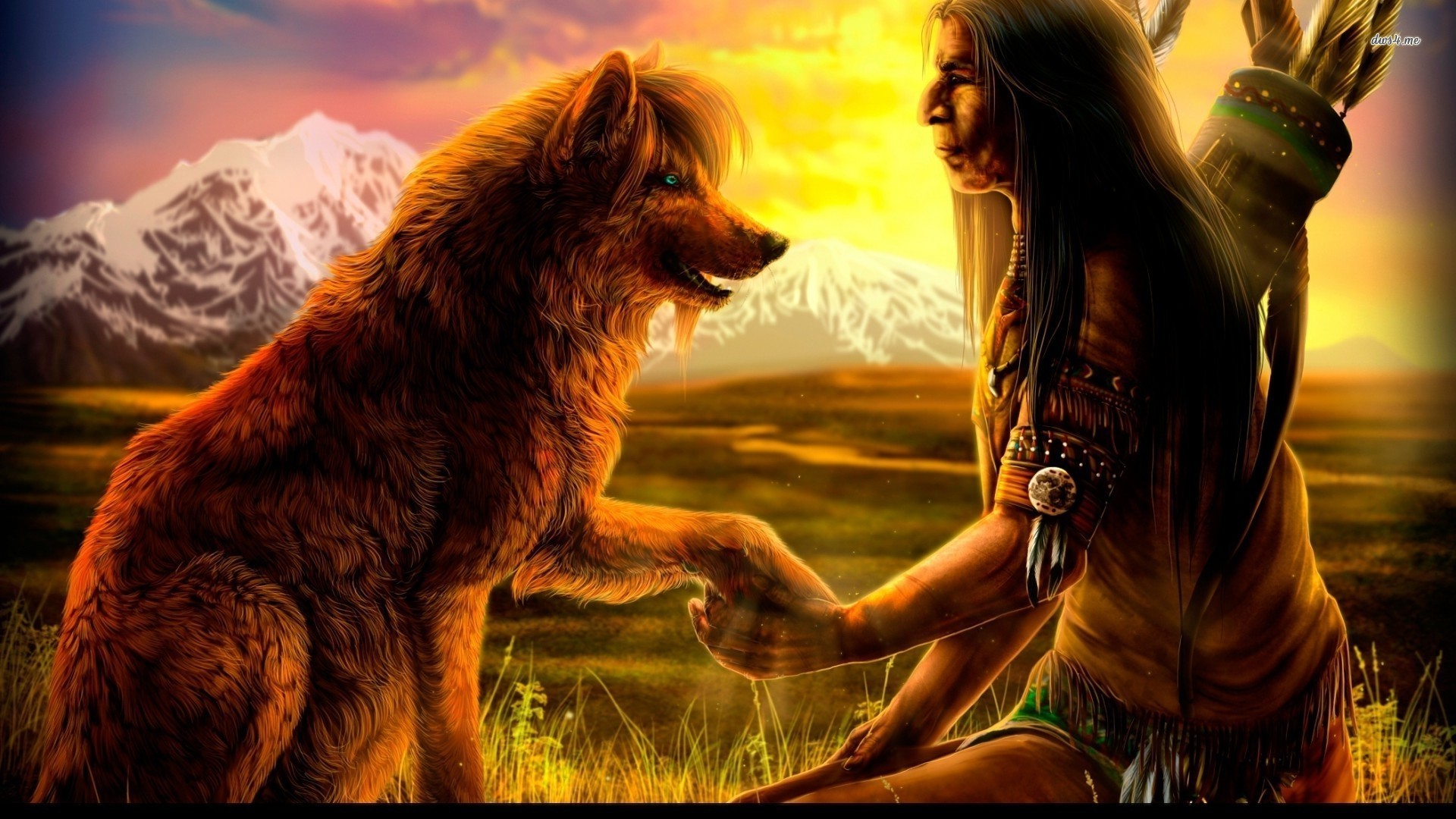 1920x1080 Native Americans | Native American with a wolf wallpaper 1280x800 Native  American with a .