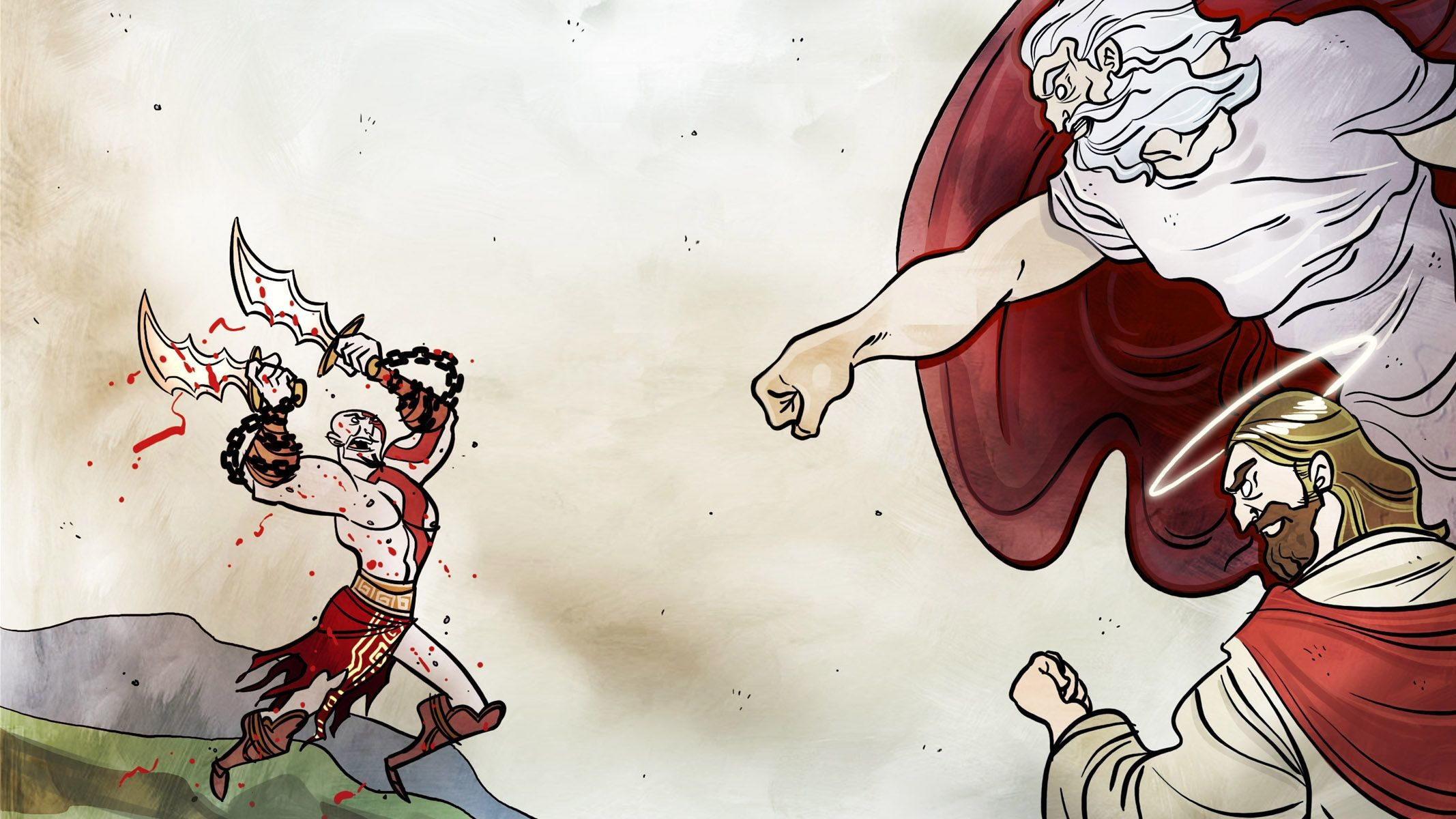 2134x1200 Game God War Kratos Penny Arcade Parody Video Games #wallpapers #widescreen