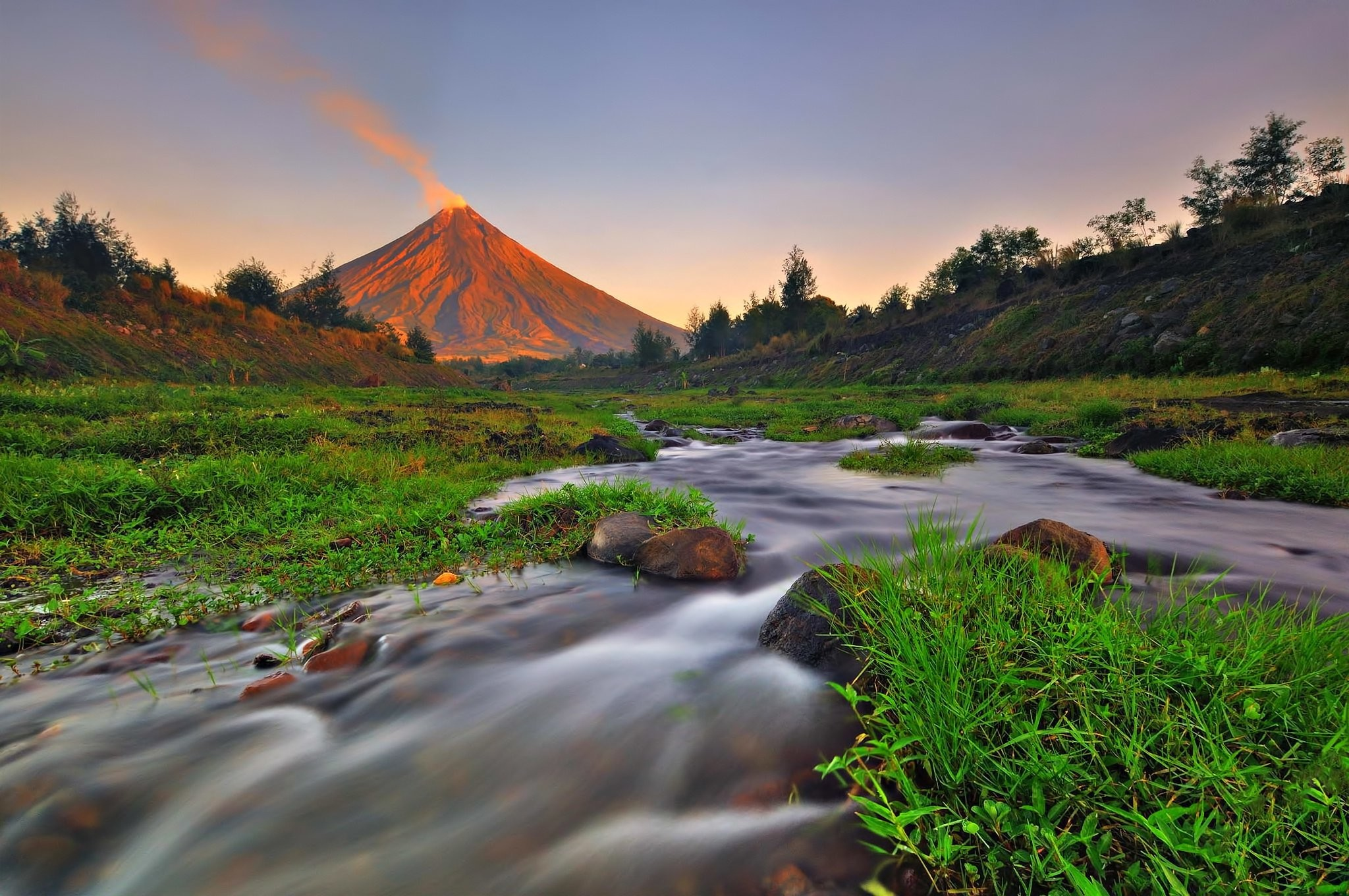 2048x1360 mayon, mountain, grass, volcanolandscape, river, volcano, nature, macbook,  cool images, love,mobile, philippines, creek Wallpaper HD