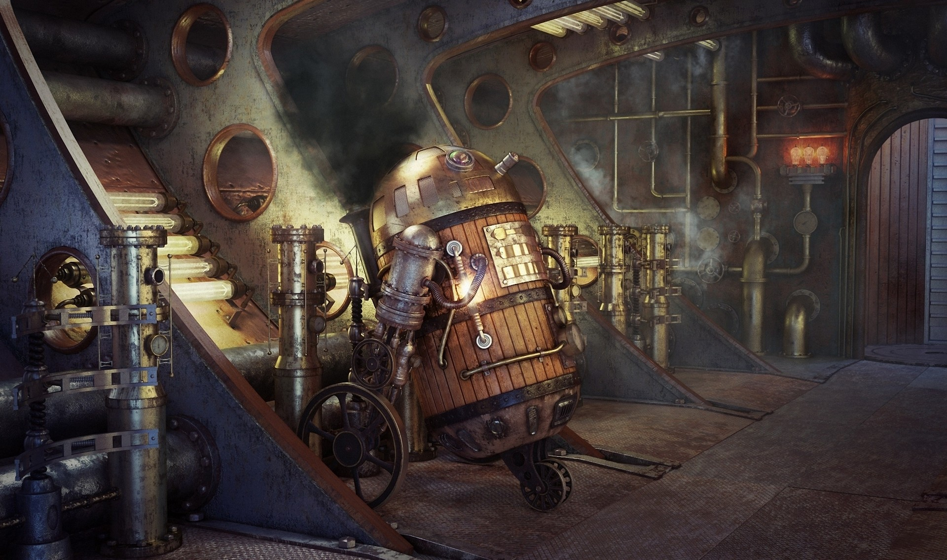 1920x1136 Art Star Wars steampunk robot R2D2 smoke pipes movies futuristic wallpaper  |  | 55046 | WallpaperUP