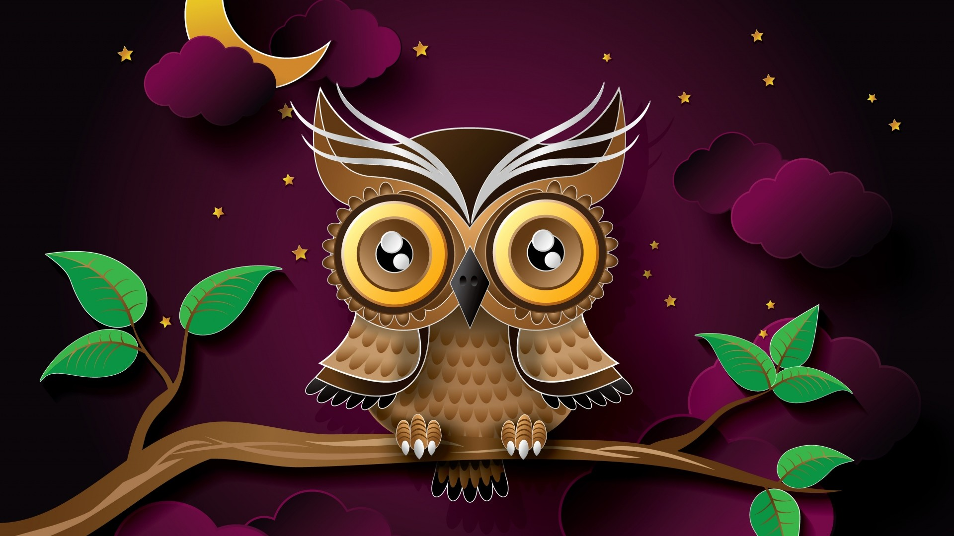 1920x1080 Preview wallpaper owl, bird, art, branch