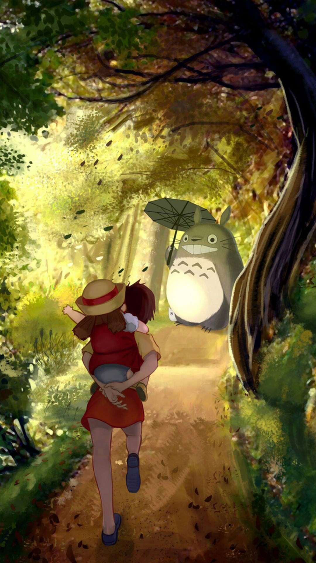 1080x1920 ... Grove Totoro With Umbrella Waiting Kids Road Anime Cartoon Cute Film  iPhone 8 wallpaper.