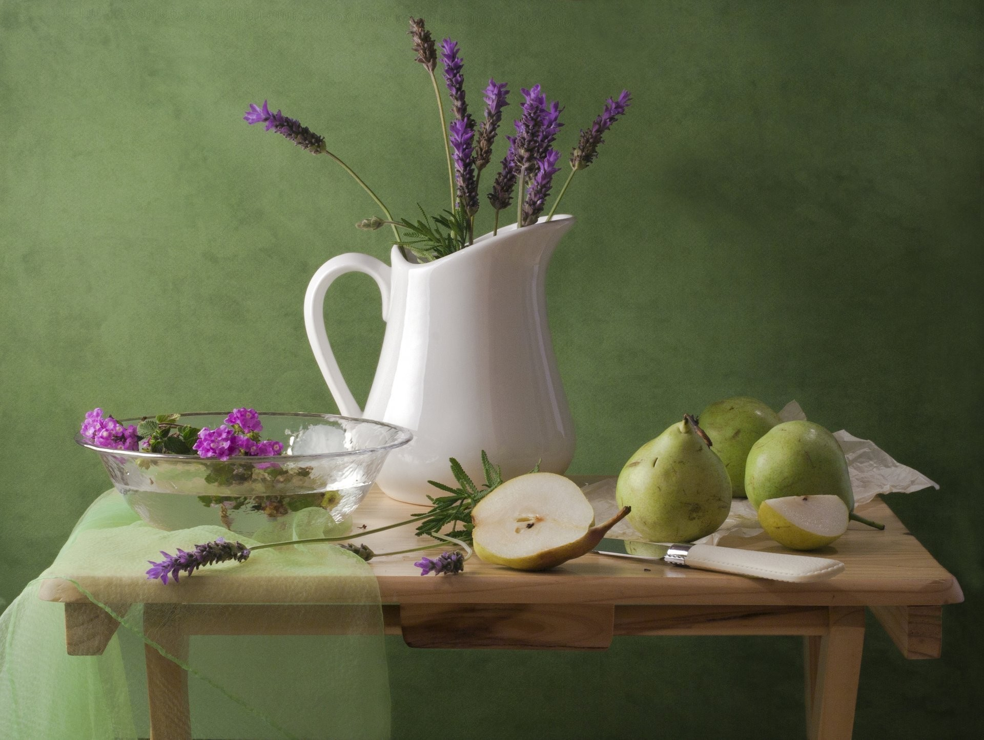 1920x1445 still life pitcher flower lavender pear knife table