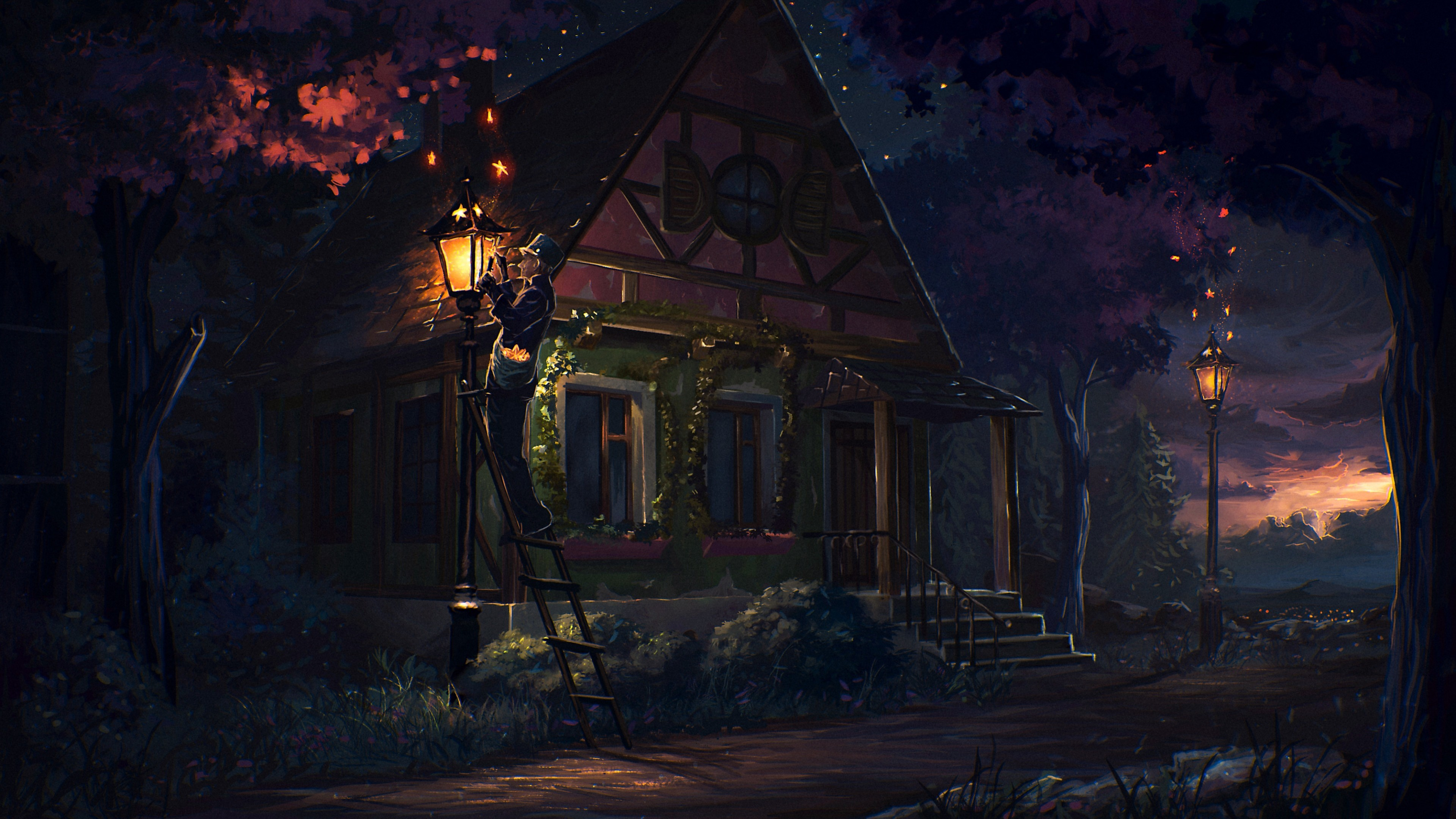 3840x2160  Preview wallpaper house, fairy tale, art, light, night