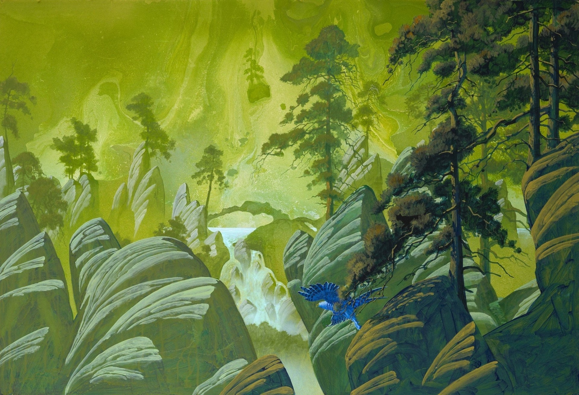 1920x1312 stones art waterfall pine birds tree roger dean fiction rock