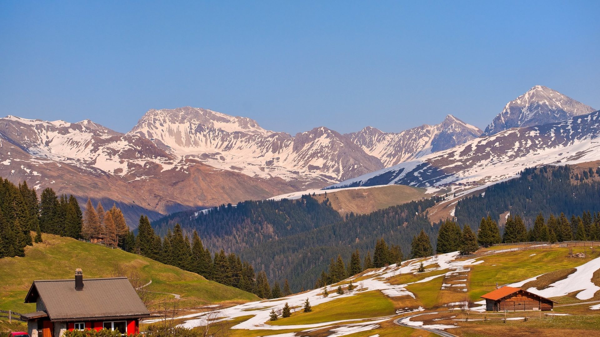 1920x1080 Davos Tag - Mountains Davos Grasslands Switzerland Nature Scenery Houses  Jakobshorn Wallpaper Cool for HD 16