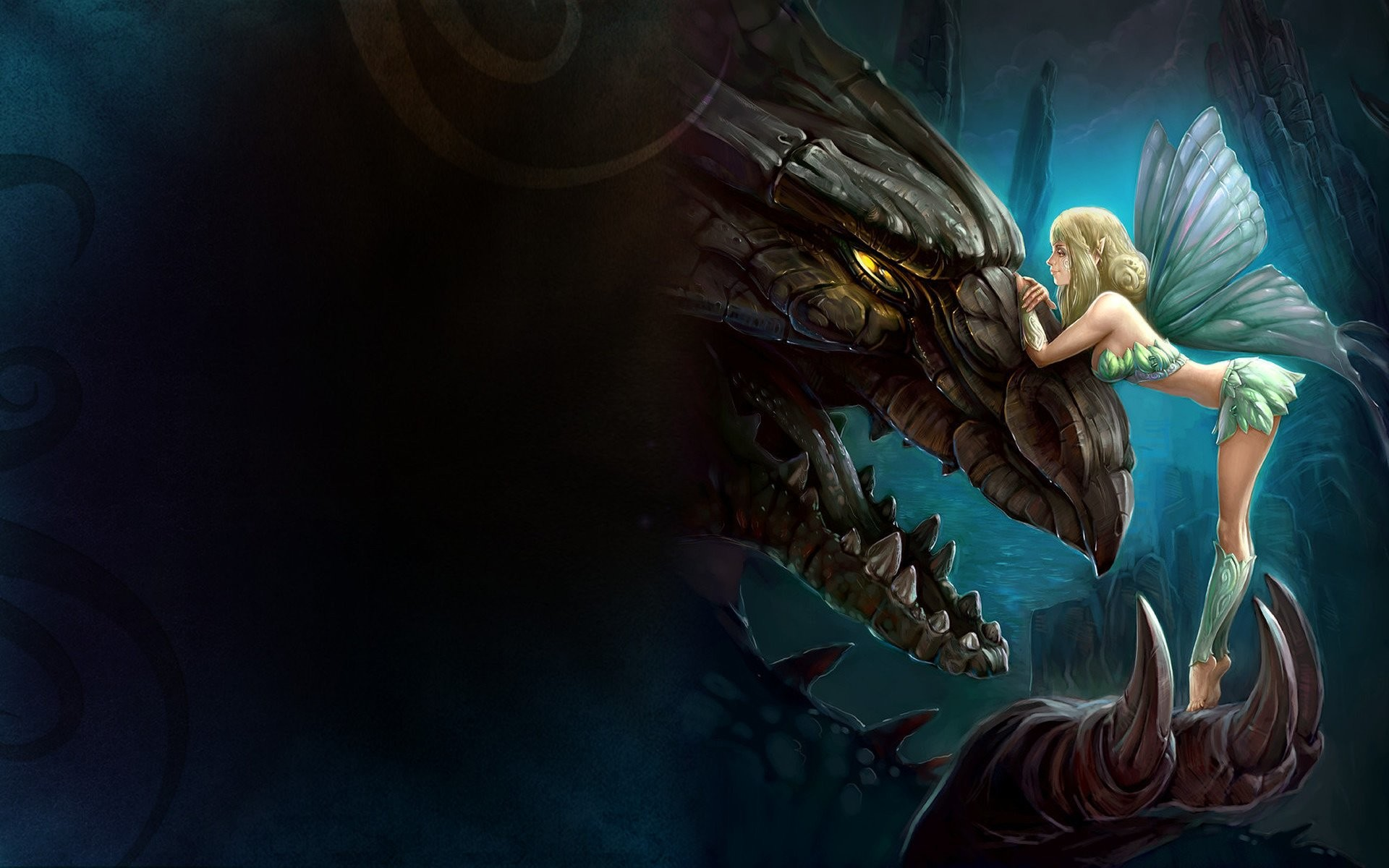1920x1200 ... really cool fairy dragon background desktop wallpapers high ...