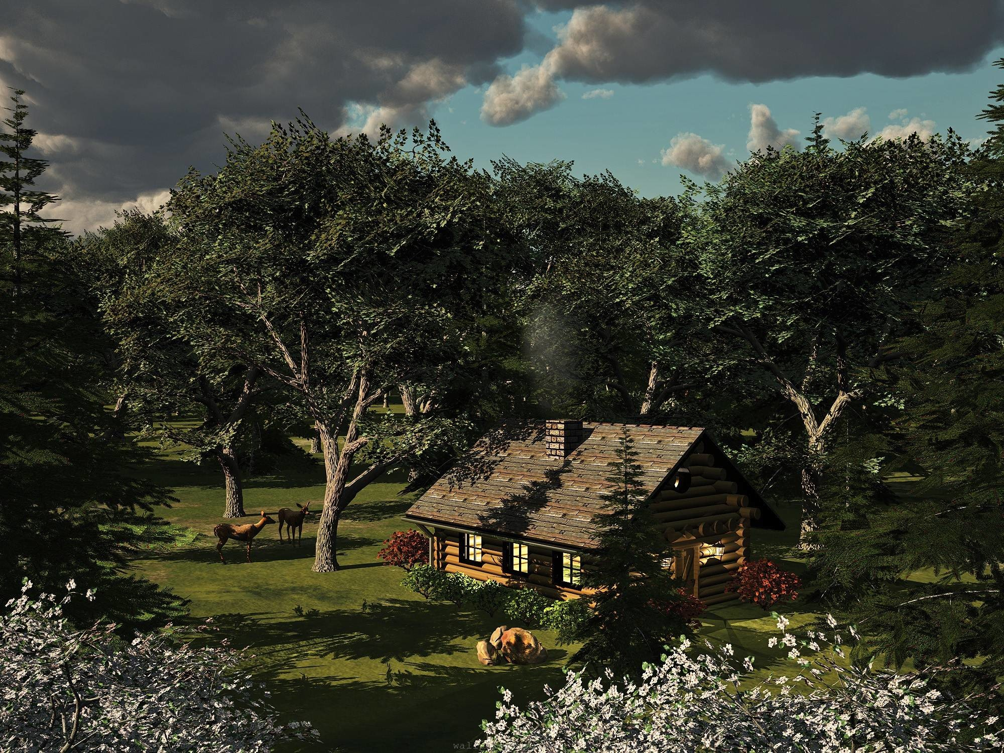 3d Log Cabin Wallpaper 58 Images