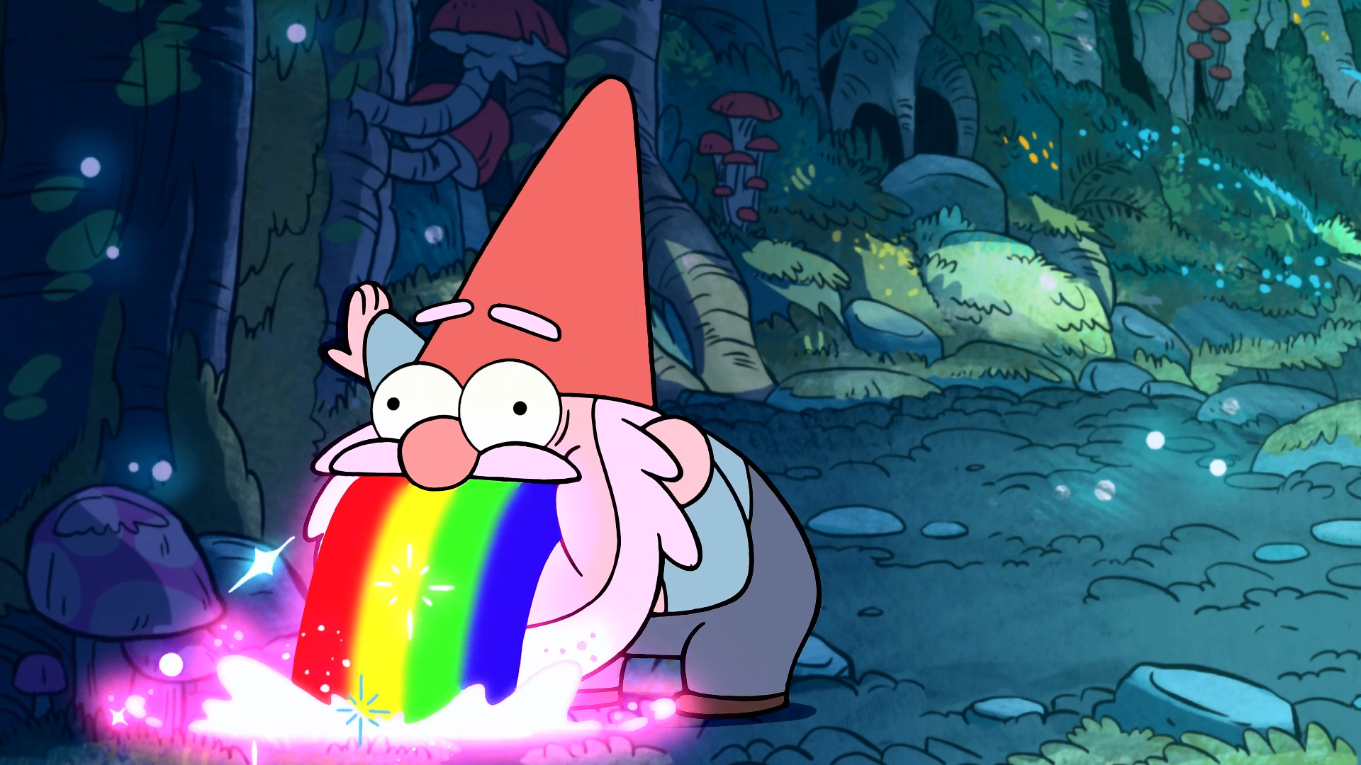 1920x1080 Gnome Puking Rainbows - Gravity Falls