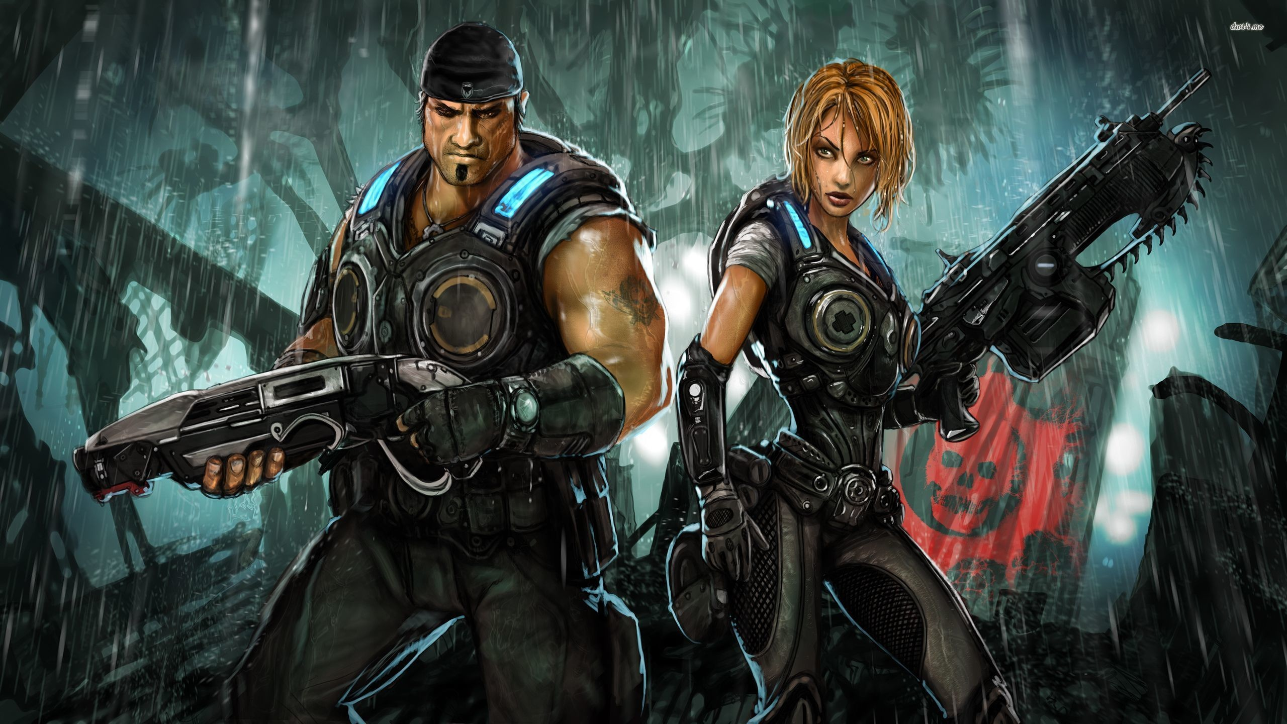 2560x1440 ... Marcus Fenix and Anya Stroud in Gears of War 3 wallpaper  ...
