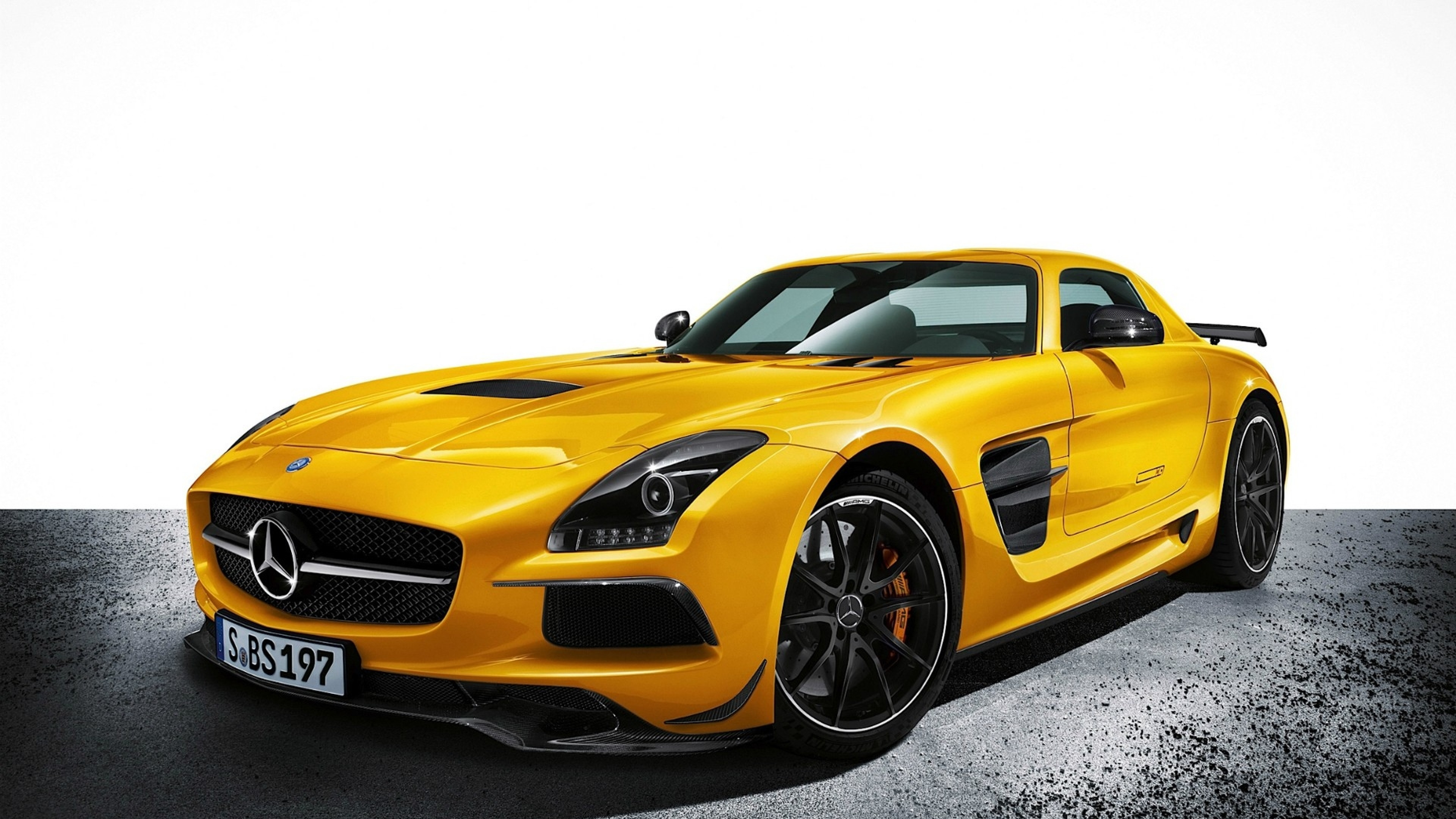 3840x2160  Wallpaper mercedes-benz, sls amg, yellow, auto