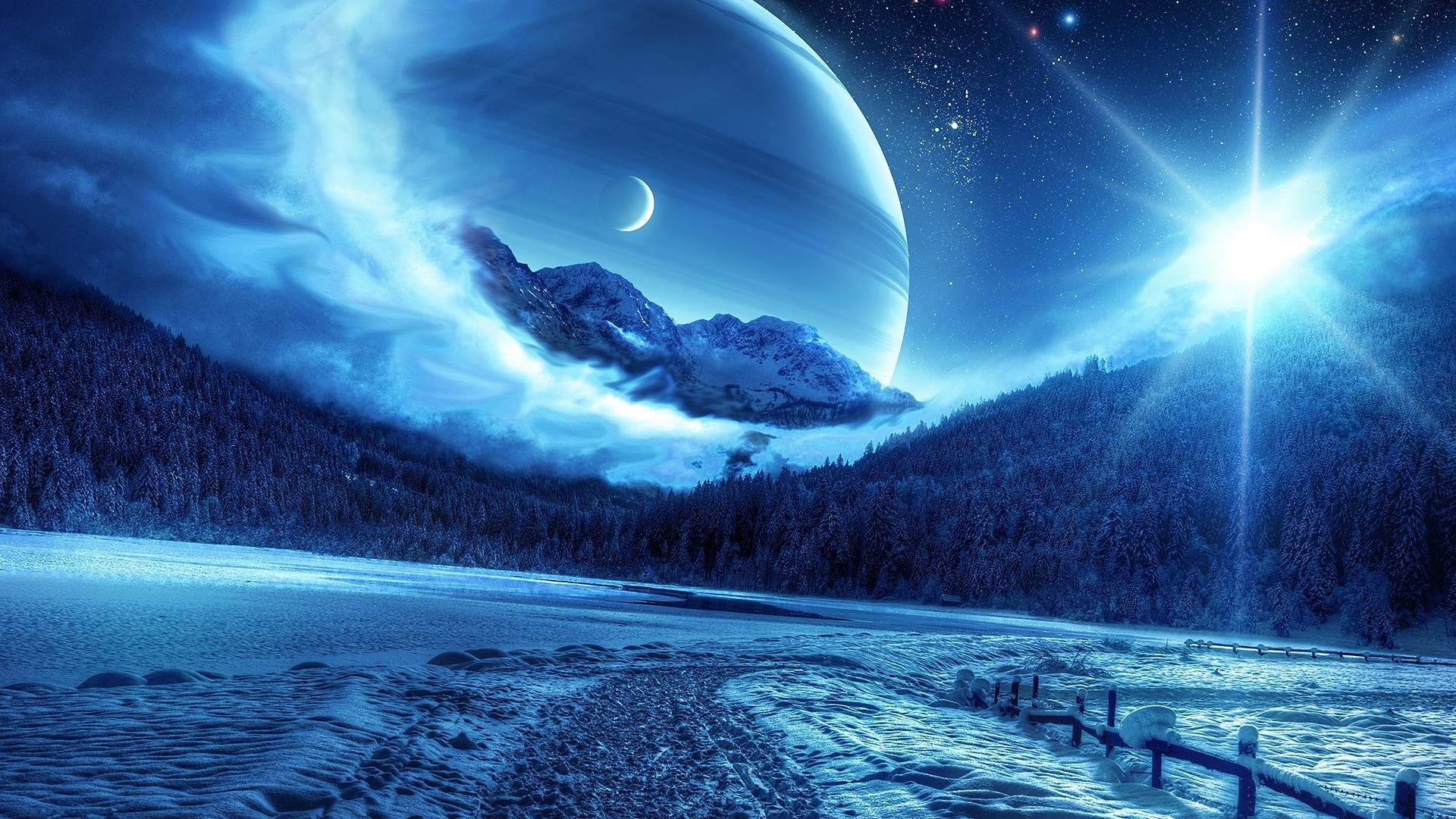1920x1080 Preview wallpaper winter, night, mountains, road, planet, fantastic  landscape