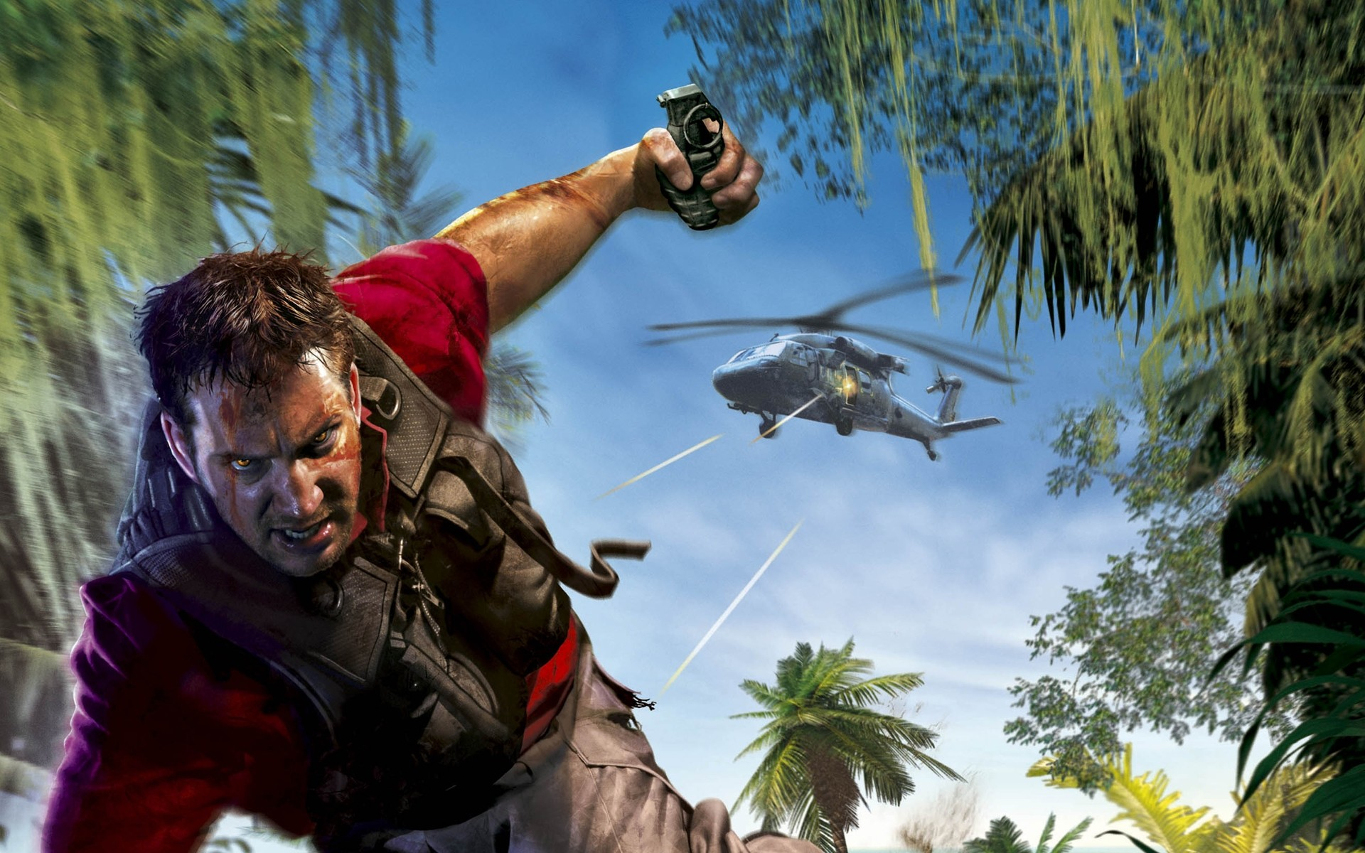 1920x1200  Wallpaper far cry, angry, helicopter, grenade, look, jack carver