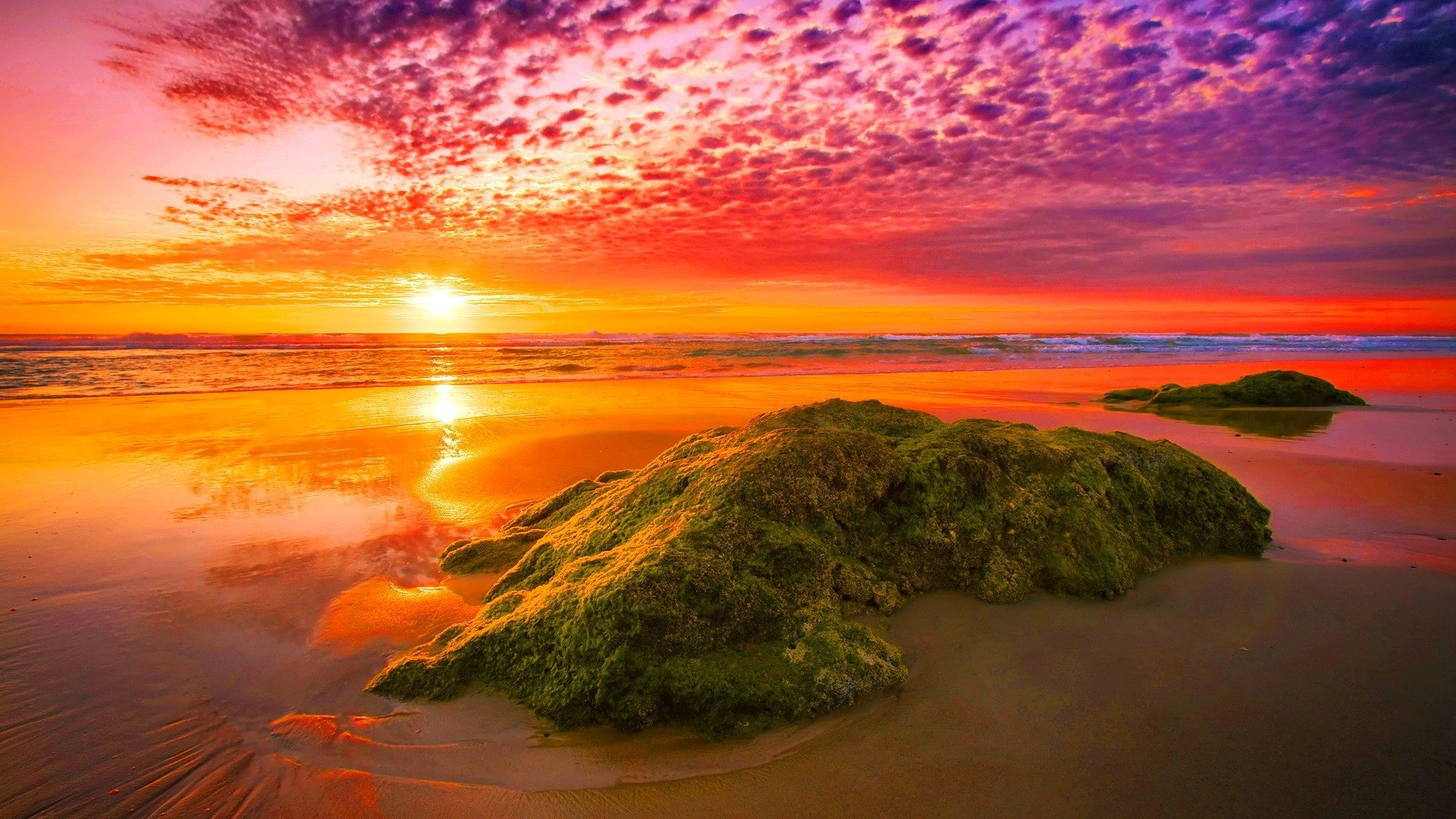 1920x1080 Sunset - Amazing Sunset Light Sunlight Fiery Sea Rocks Sky Nice Sand Nature  Reflection Lovely Beautiful