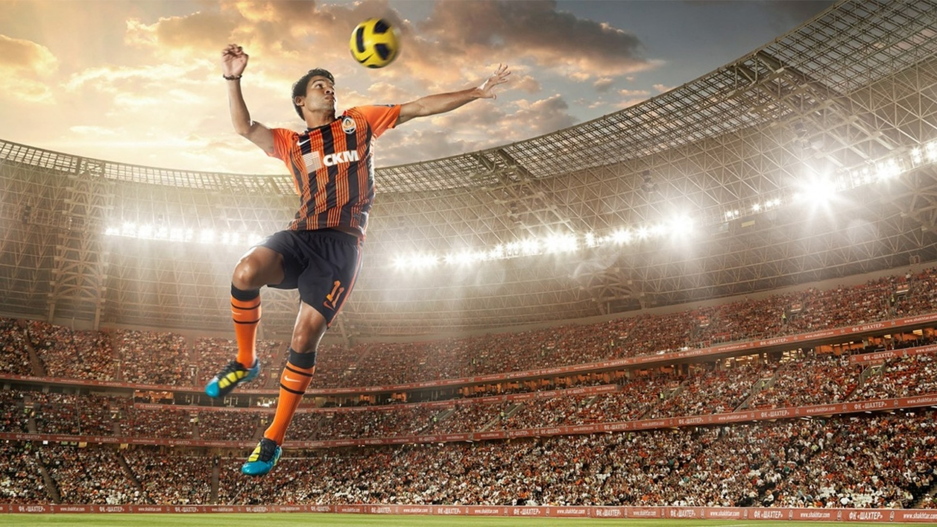 1920x1080 ... Soccer player hits the ball wallpapers and images wallpapers