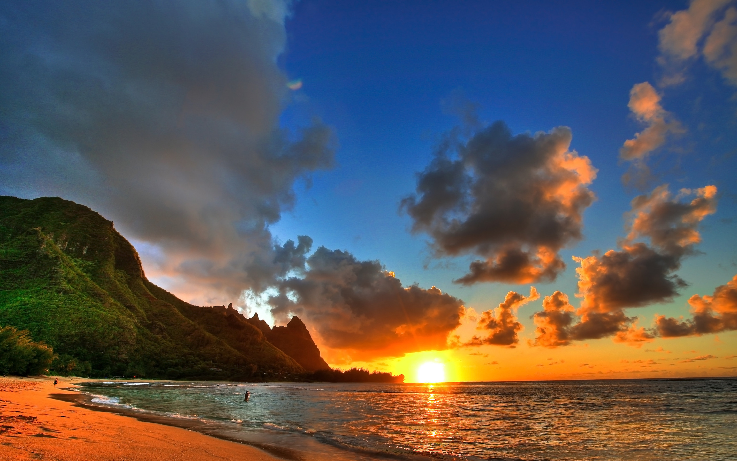 2560x1600 amazing hawaii beach sunset wallpaper image