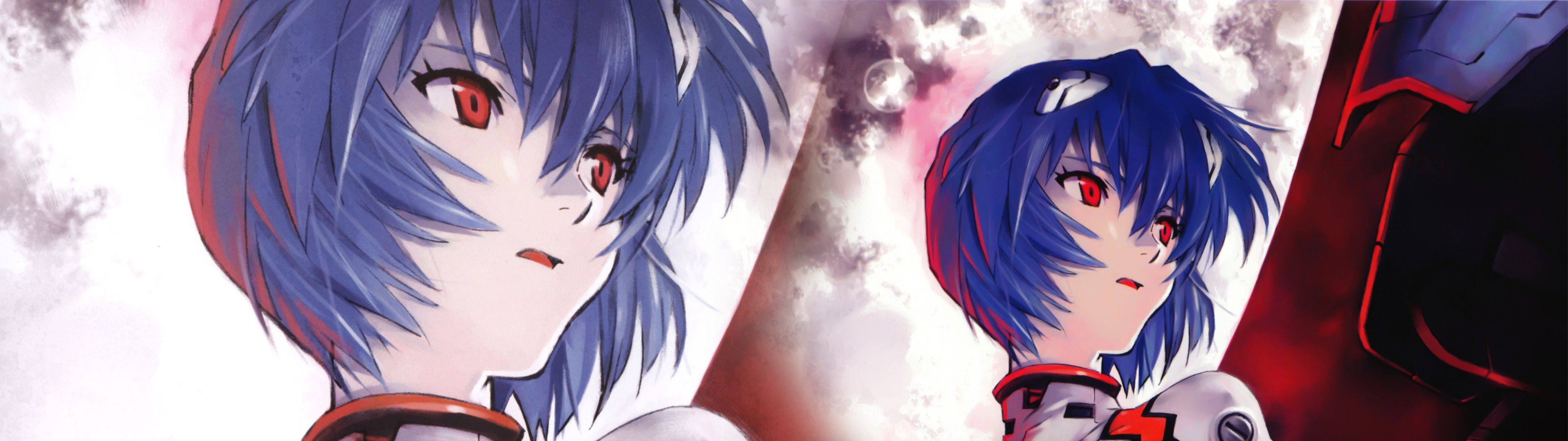 3840x1080 Ayanami Rei, Neon Genesis Evangelion, Moon, Face, Anime Girls, Sitting,