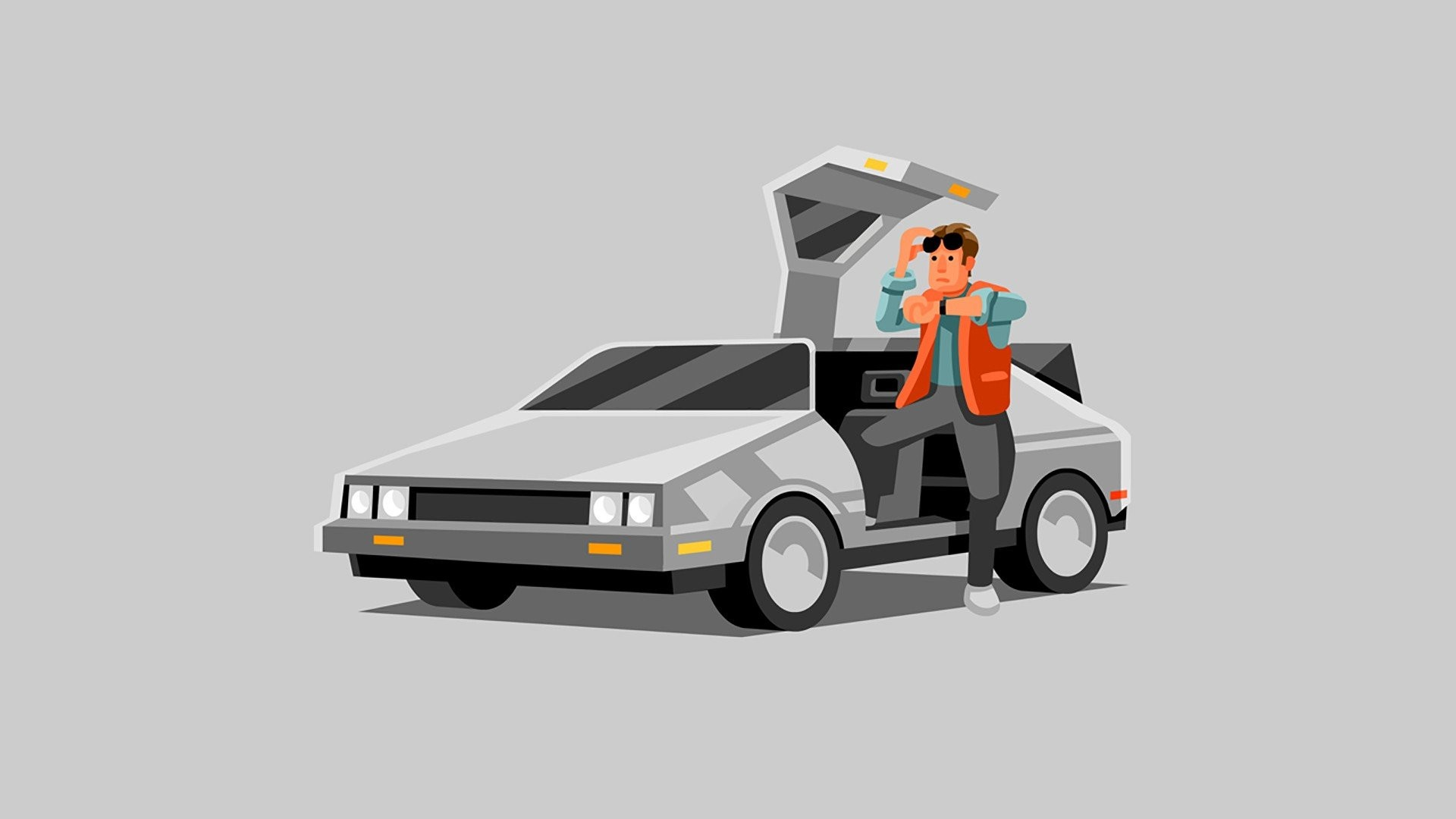 1920x1080 DeLorean, Back to the Future