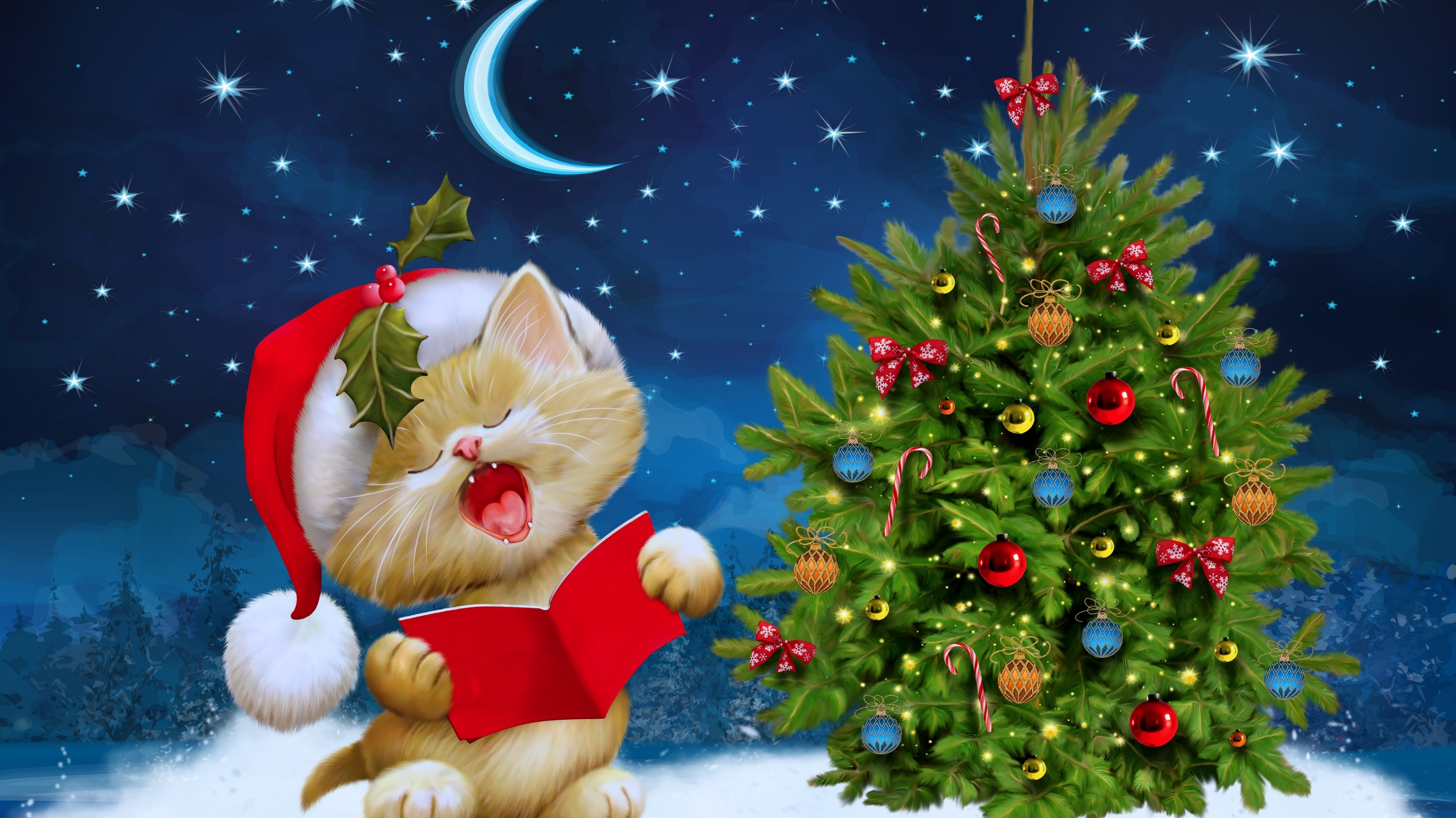 3840x2160 Christmas Tree with kitty high definition wallpapers free download