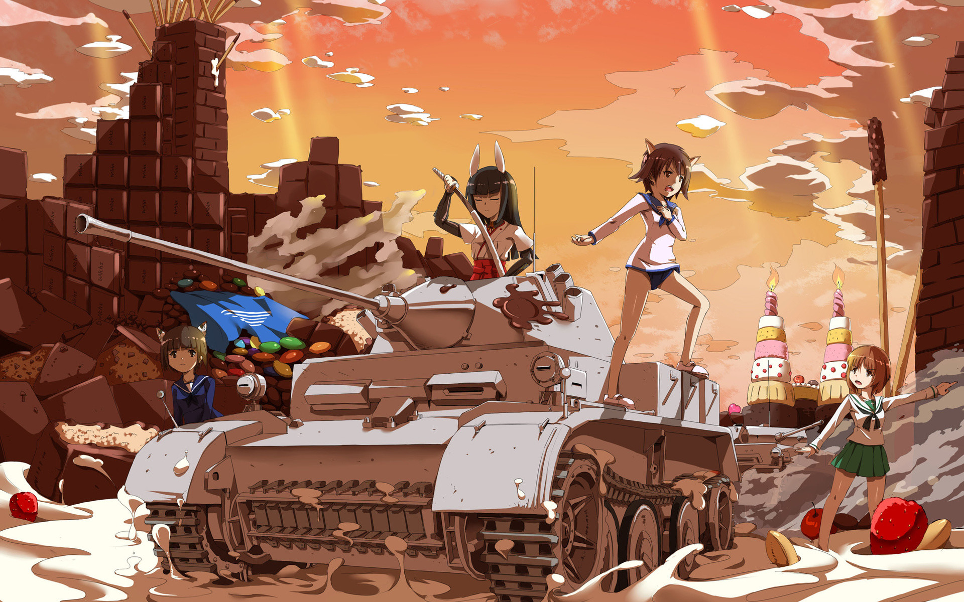 1920x1200 Girls And Tanks, Girls Und Panzer, Anime, Art, Sirills, Strike Witches