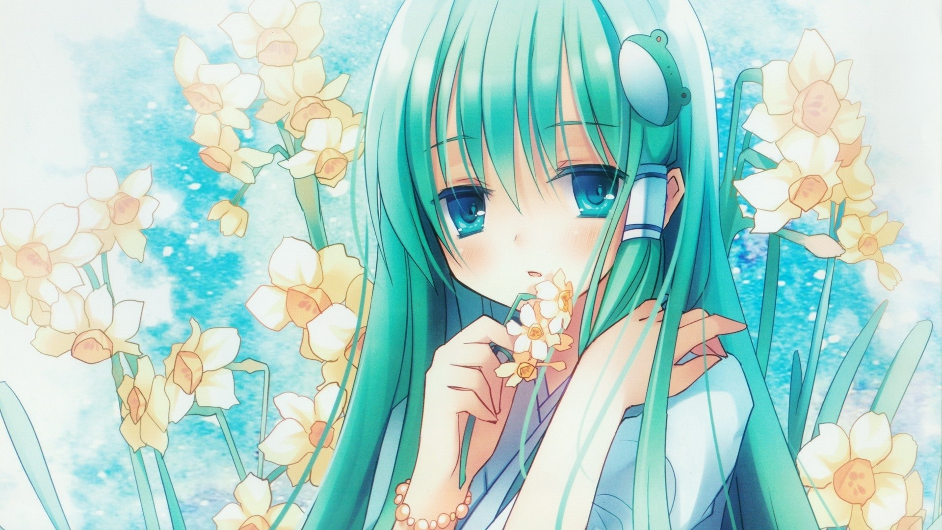 1920x1080 Preview wallpaper anime, girl, hair, long, flower, narcissus, eye