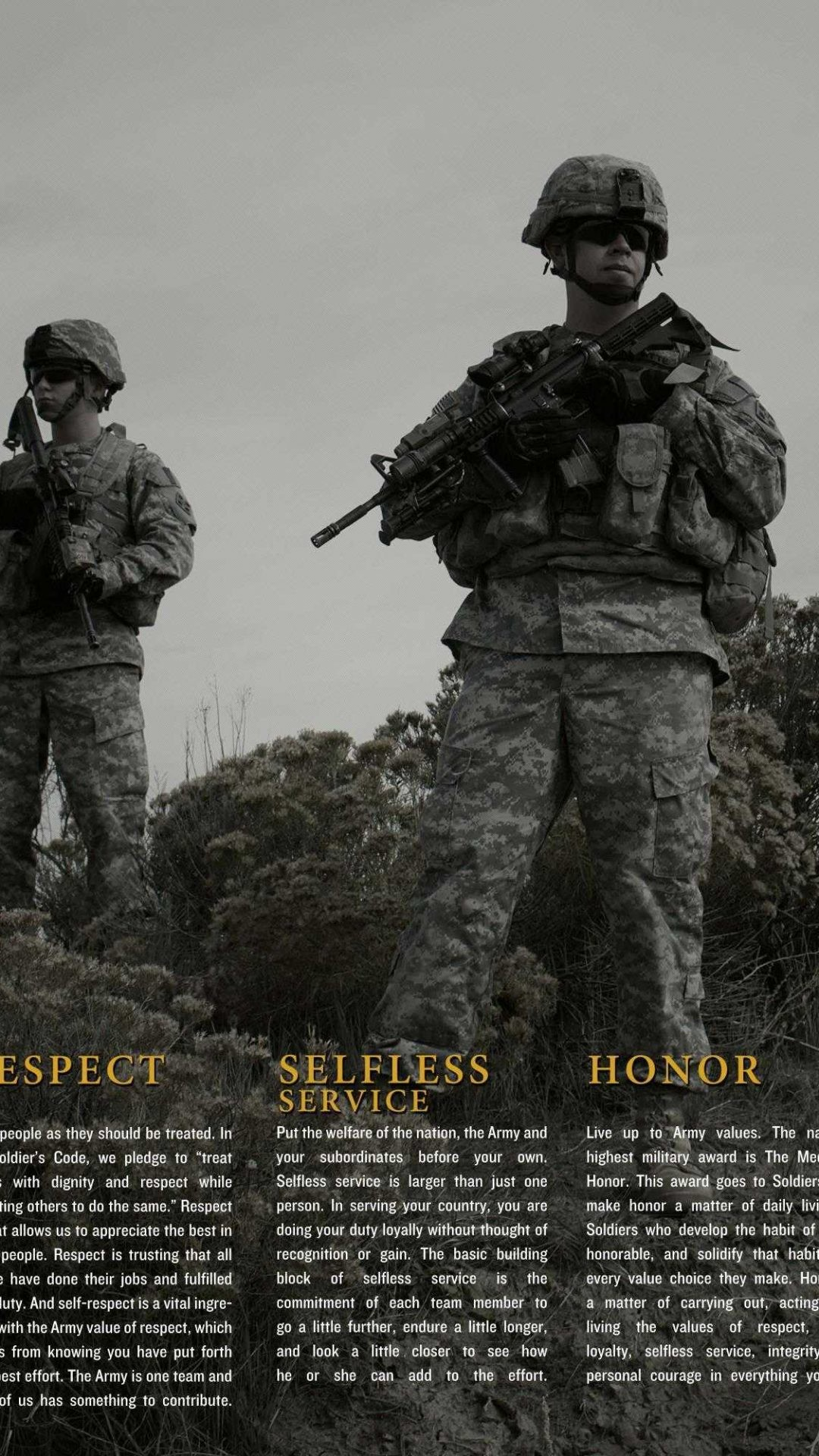 1080x1920 us army core values wallpaper