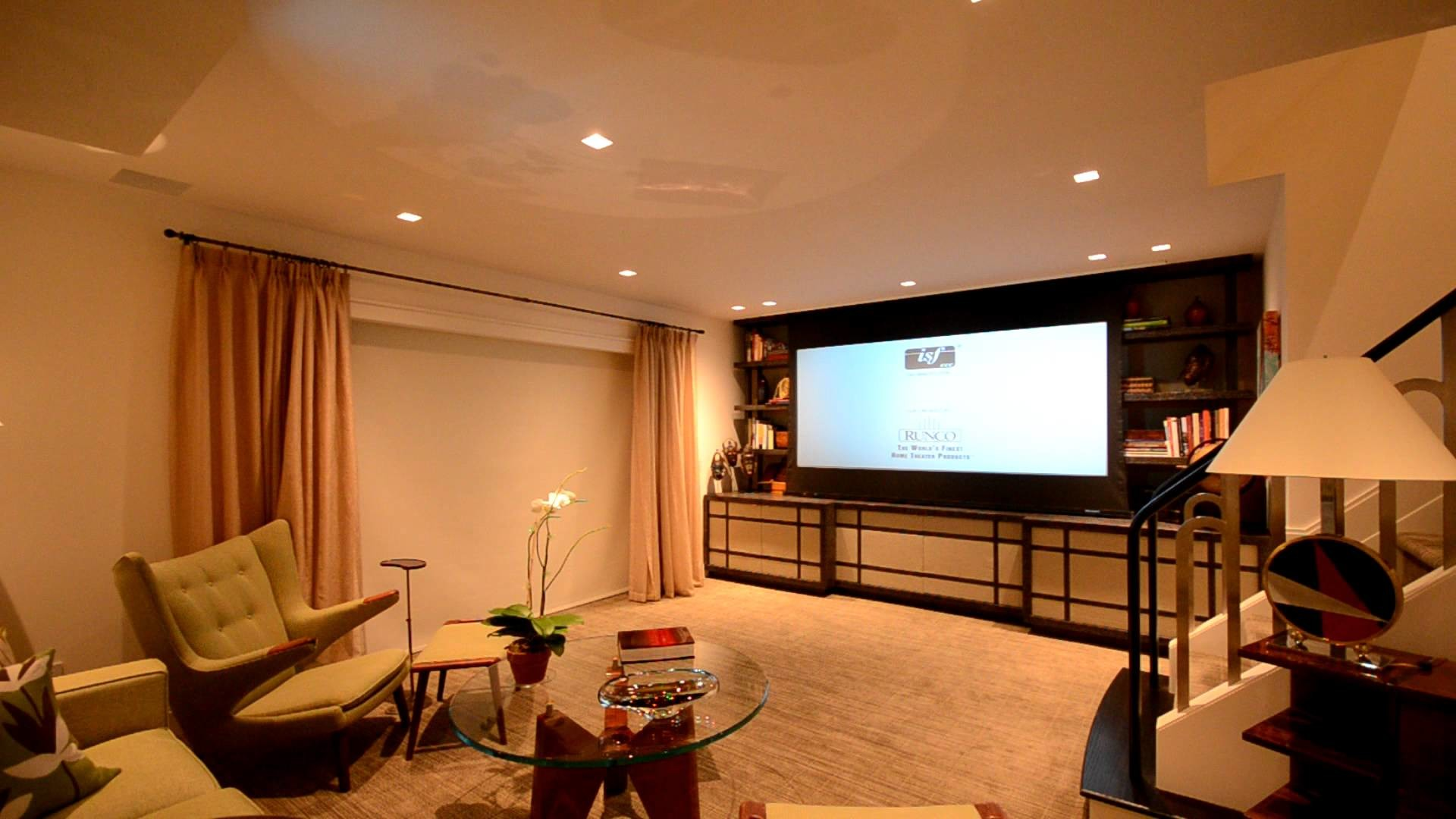 1920x1080 Media Room with Motorized Projector Lift, Motorized Screen & Automated  Shades by Crescendo Designs - YouTube