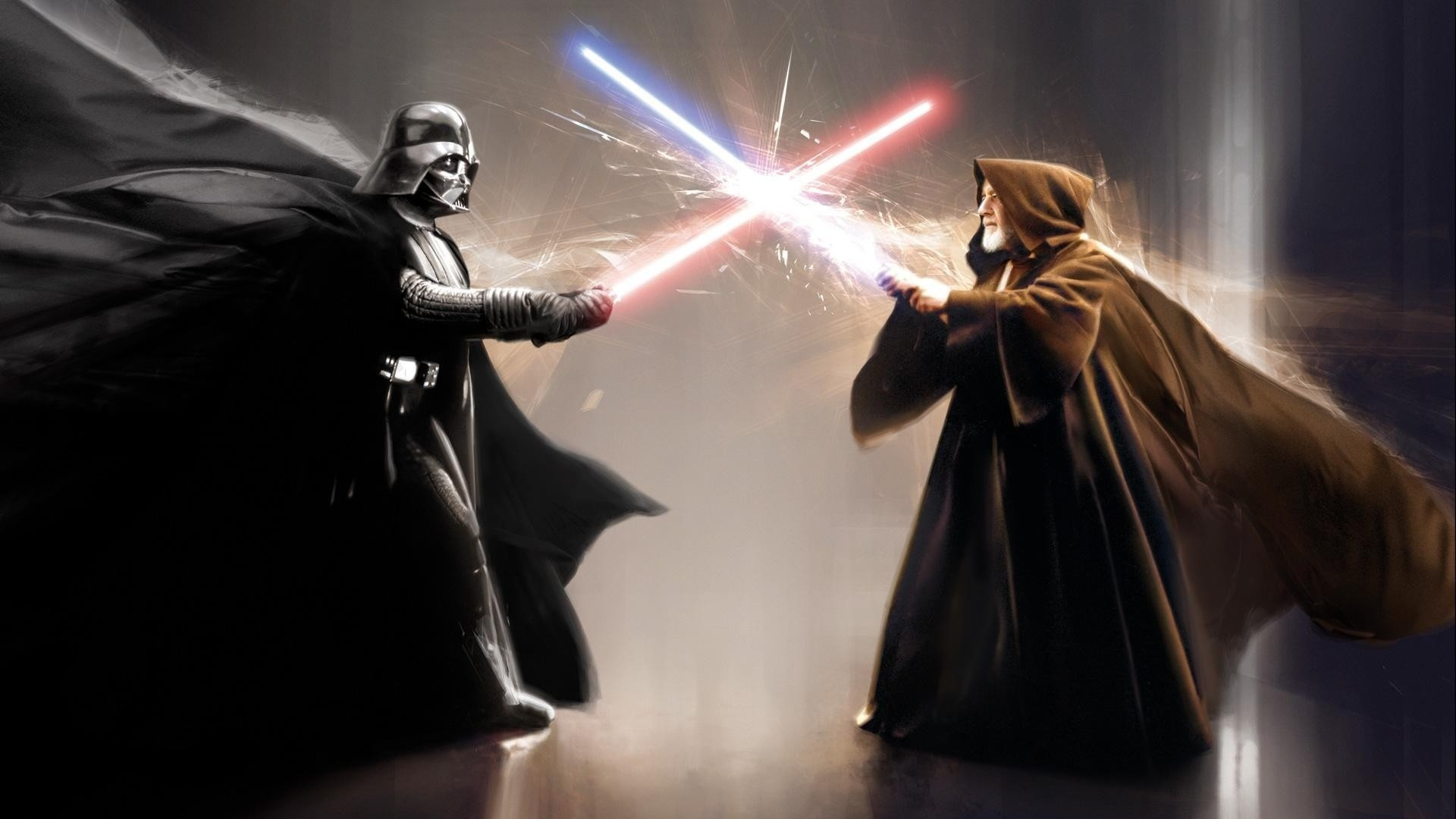 1920x1080 Darth Vader Obi Wan Kenobi movies star wars sci-fi weapons lightsaber  battle video games