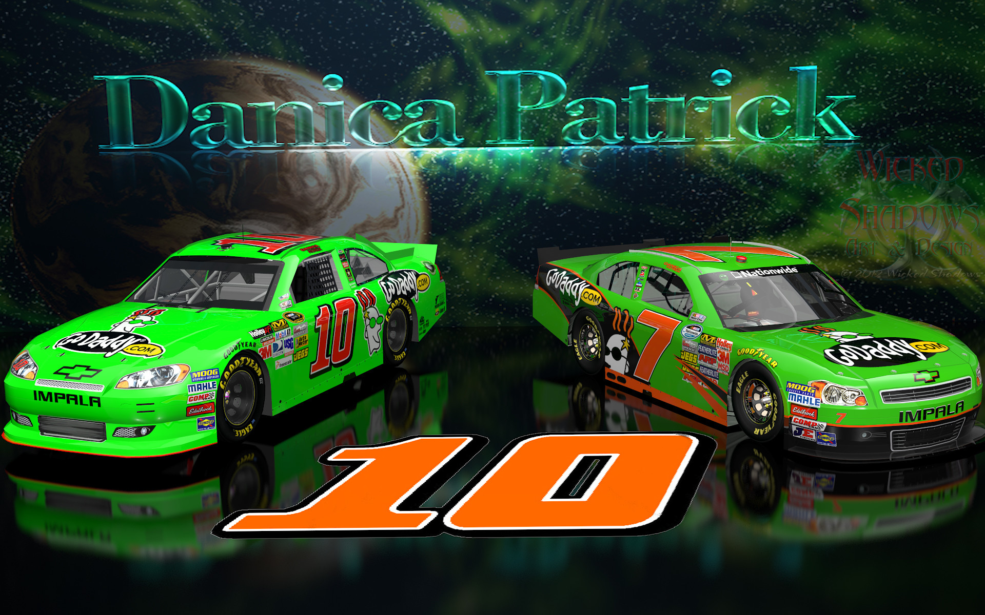 1920x1200 Wallpapers By Wicked Shadows: Danica Patrick NNS And Cup Go Daddy Cars .