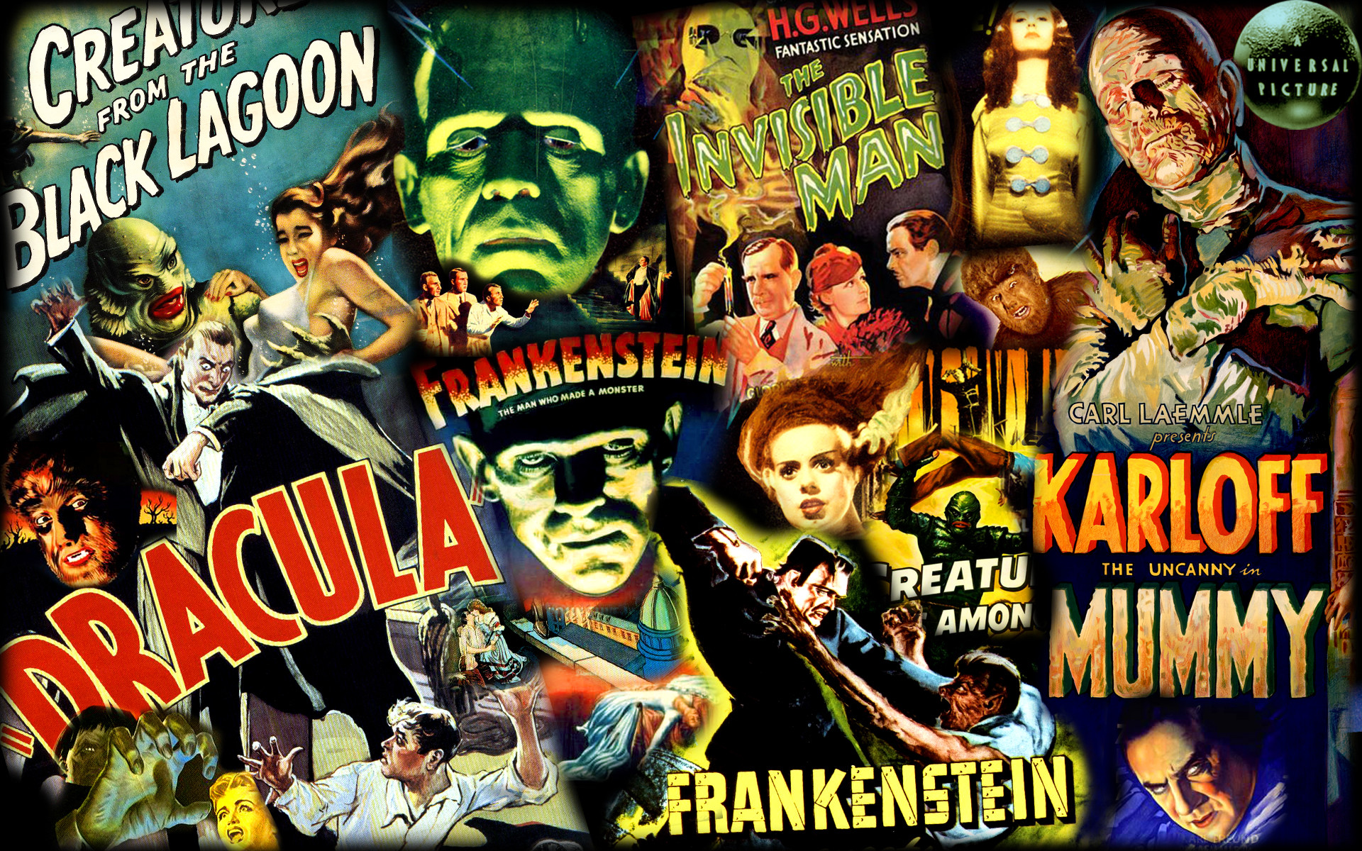 1920x1200 Universal Monsters poster collage/wallpaper. See more at: https ...  Universal Monsters Poster Collage Wallpaper See More At S