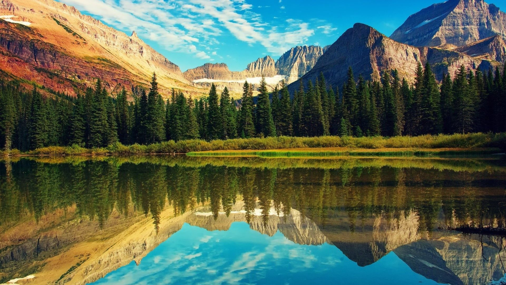 1920x1080 Montana Forests Lake National Reflection Mountains Glacier Park Usa Spring  Desktop Wallpaper