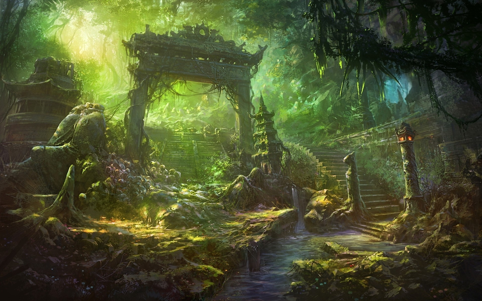 1920x1200 Anime Fantasy Forest Landscape Wallpapers