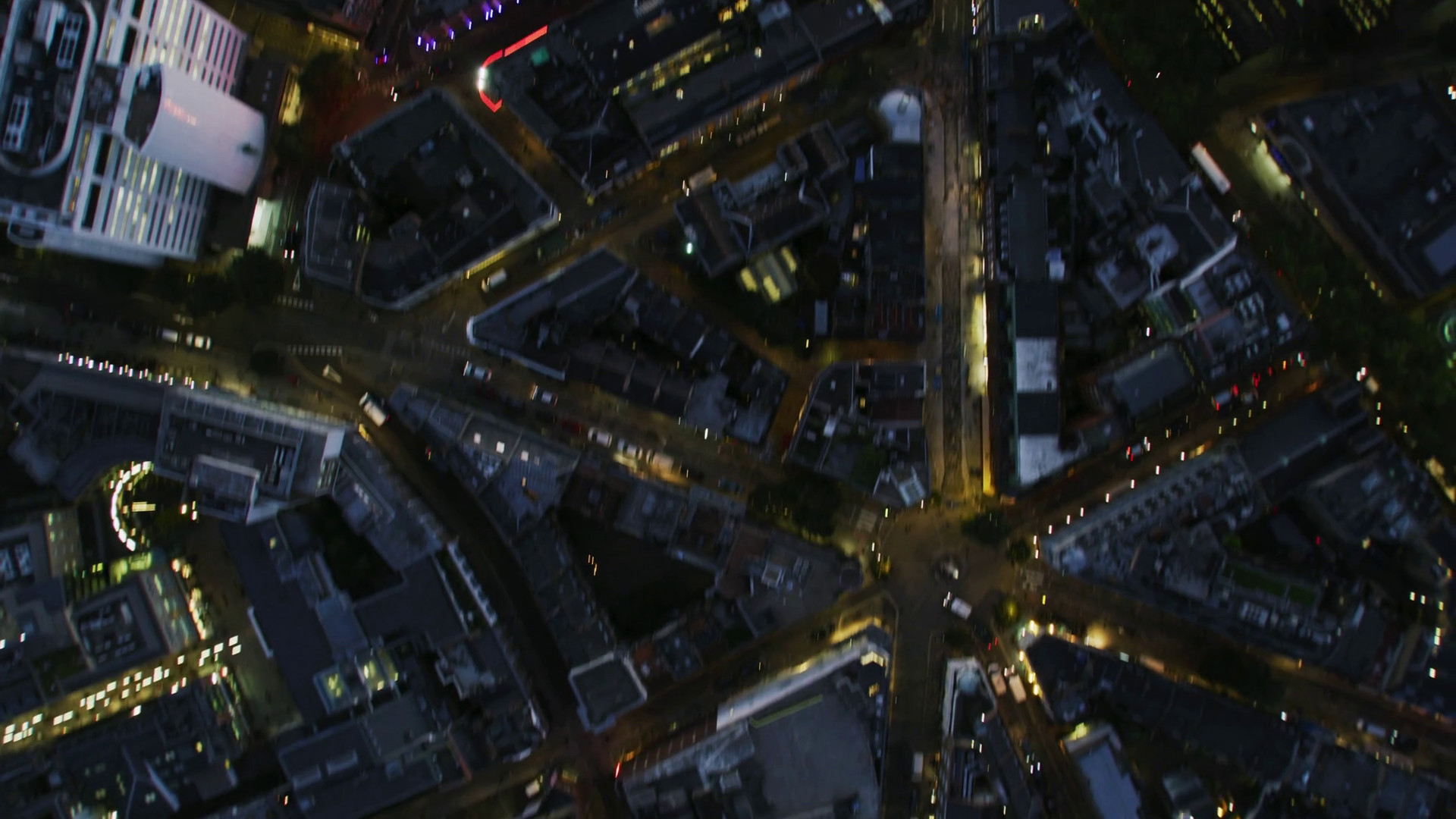 1920x1080 Aerial overhead rooftop view London streets at night Stock Video Footage -  Storyblocks Video