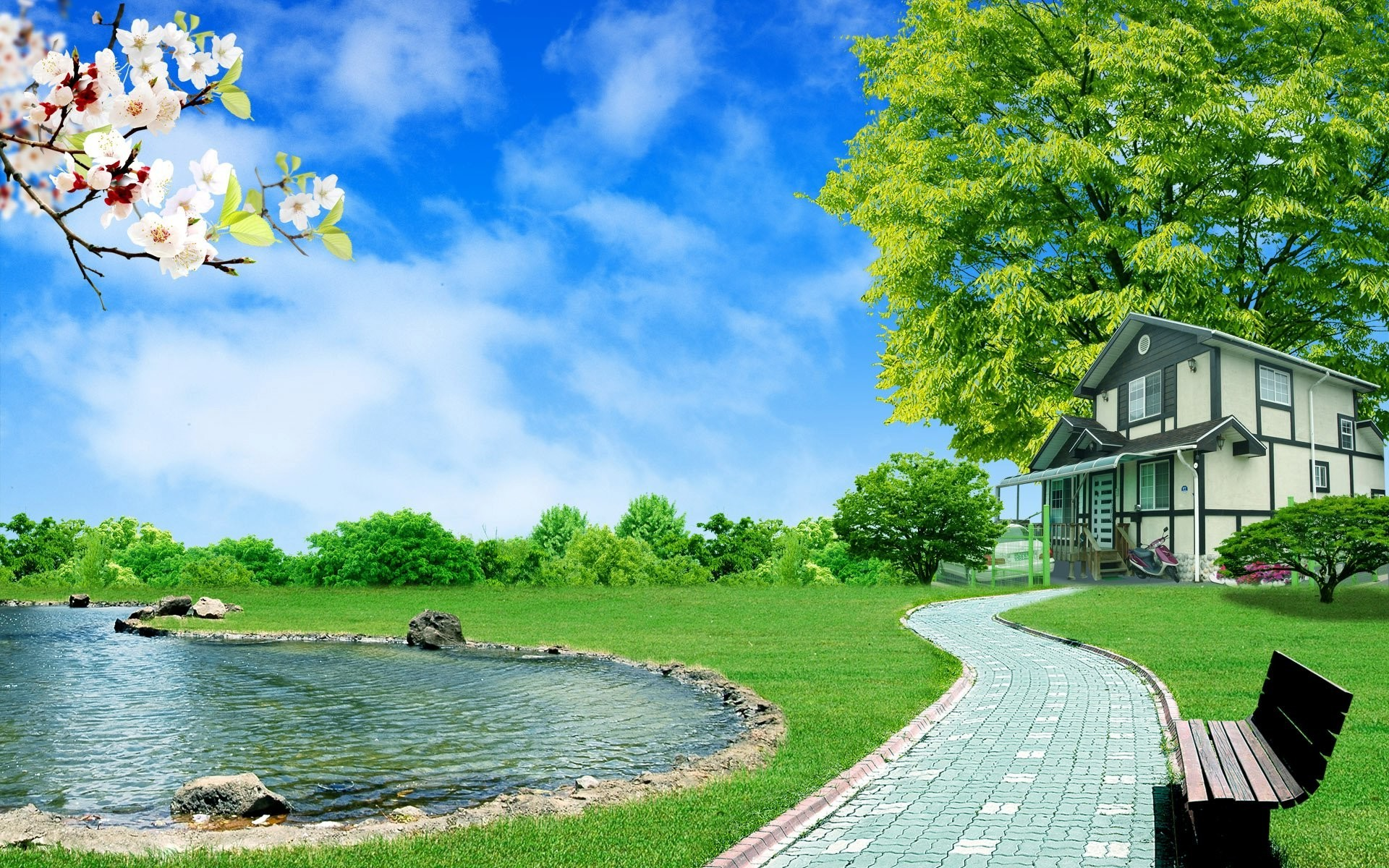 1920x1200 3D Lake House Desktop Backgrounds Nature