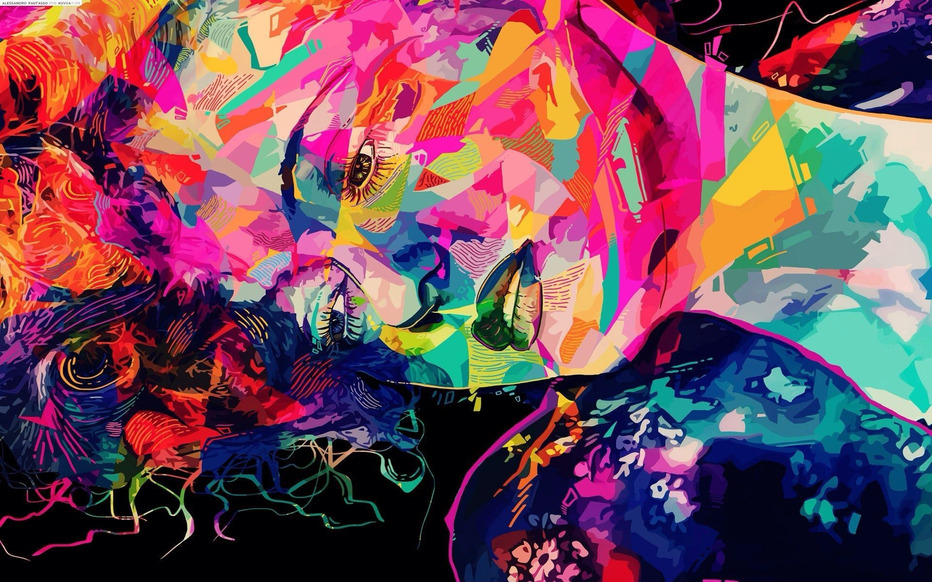 1920x1200 Colorful Trippy Abstarct Face Wallpaper HD – Gallery Wallpaper