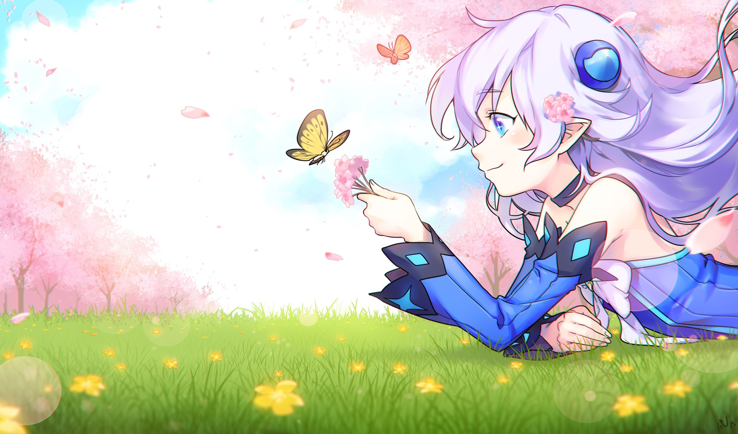 3000x1765 anime Girls, Lu (Elsword), Elsword, Aqua Eyes, Butterfly, Cherry Blossom,  White Hair, Pointed Ears, Grass Wallpapers HD / Desktop and Mobile  Backgrounds