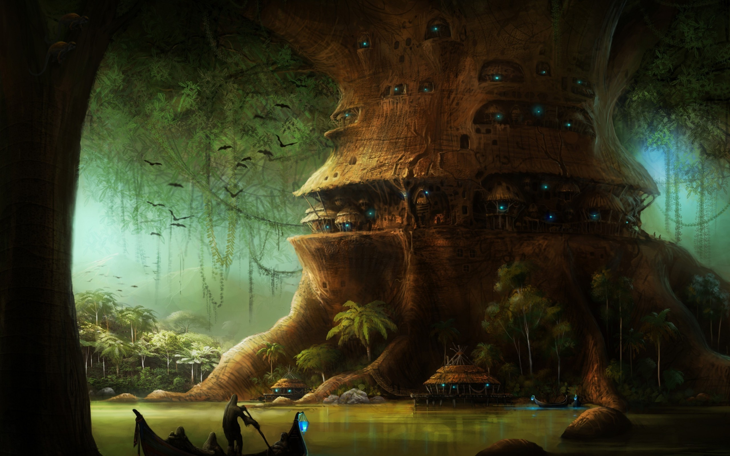 2560x1600 Fantasy City Tree Postnuclear Nuclear Fantasy Wallpaper