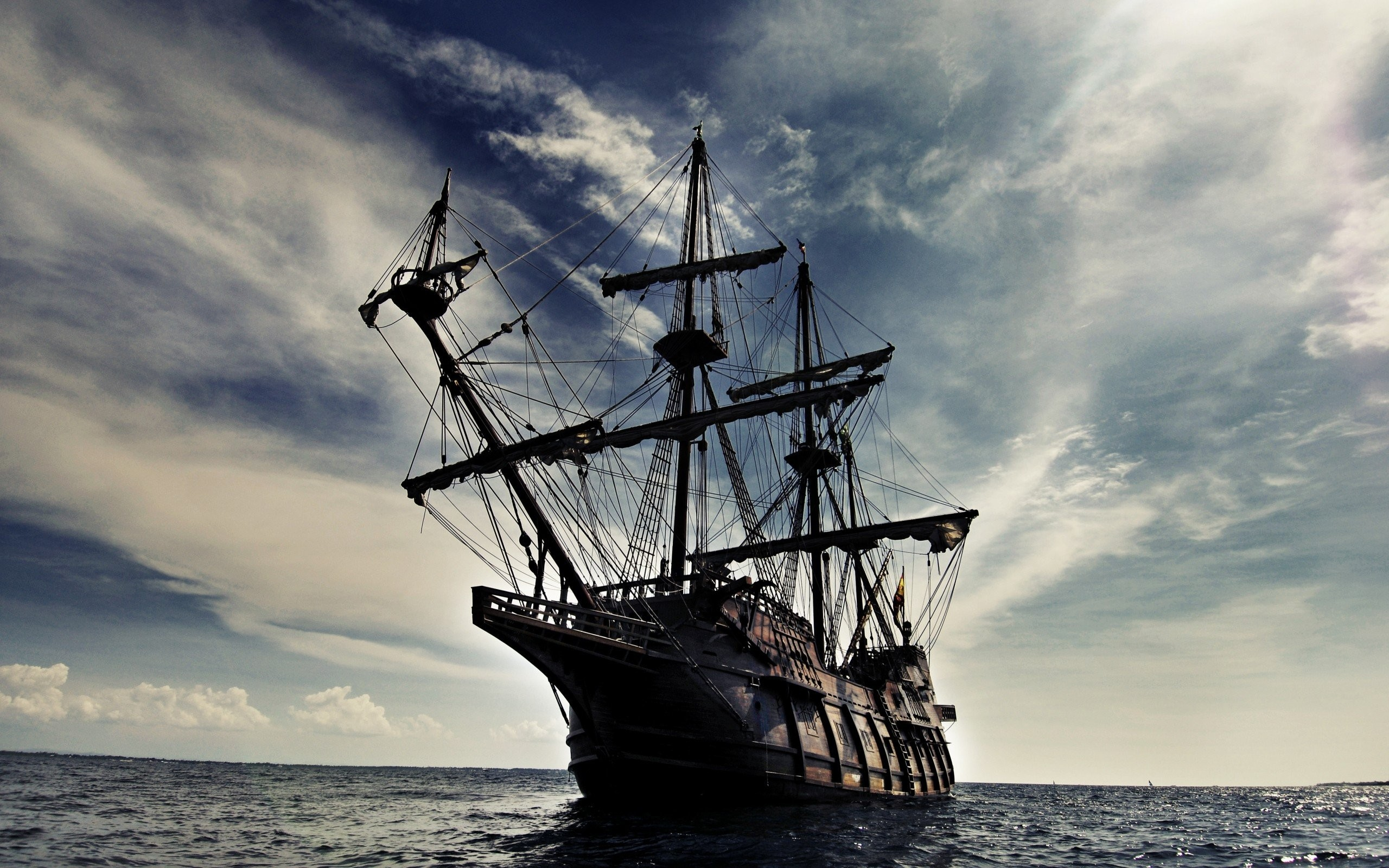 2560x1600 pirate ship oceans sail ship skyscapes sails wallpaper