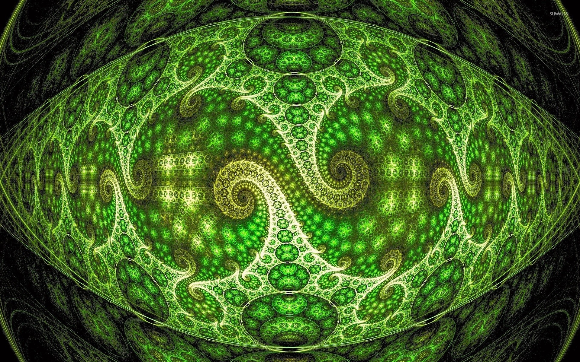 1920x1200 Neon green spiraling fractal design wallpaper