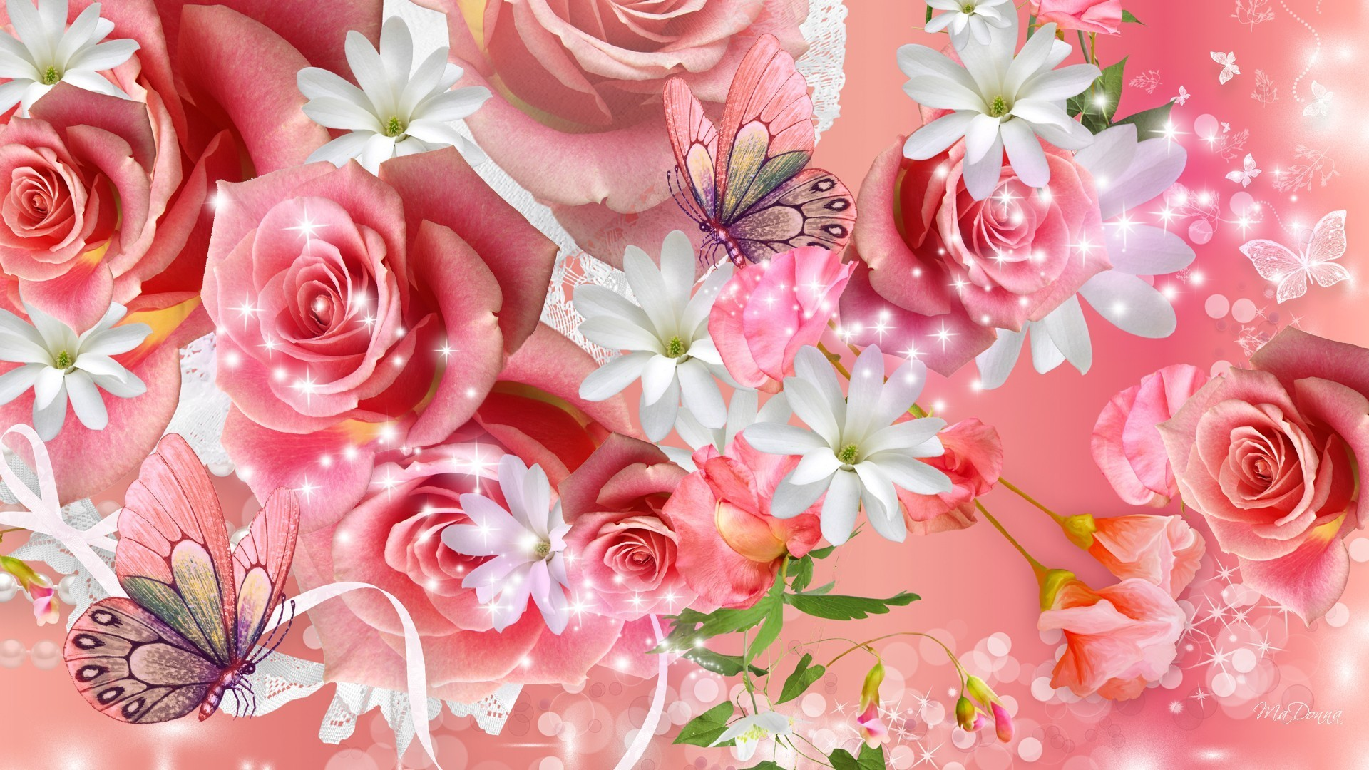 1920x1080 #DD8888 Color - Roses Butterflies Papillon Bright Flowers Blossoms Pink  Fleurs Frangipani Summer Blooms Rose