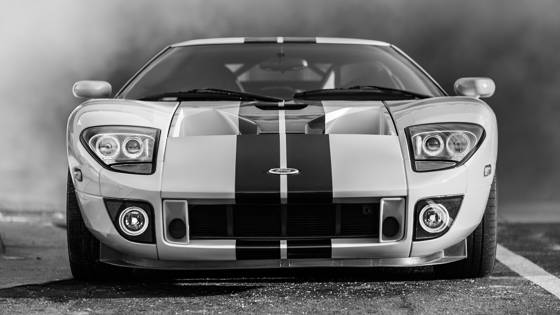 1920x1080  Wallpaper ford gt, ford, bw, lights