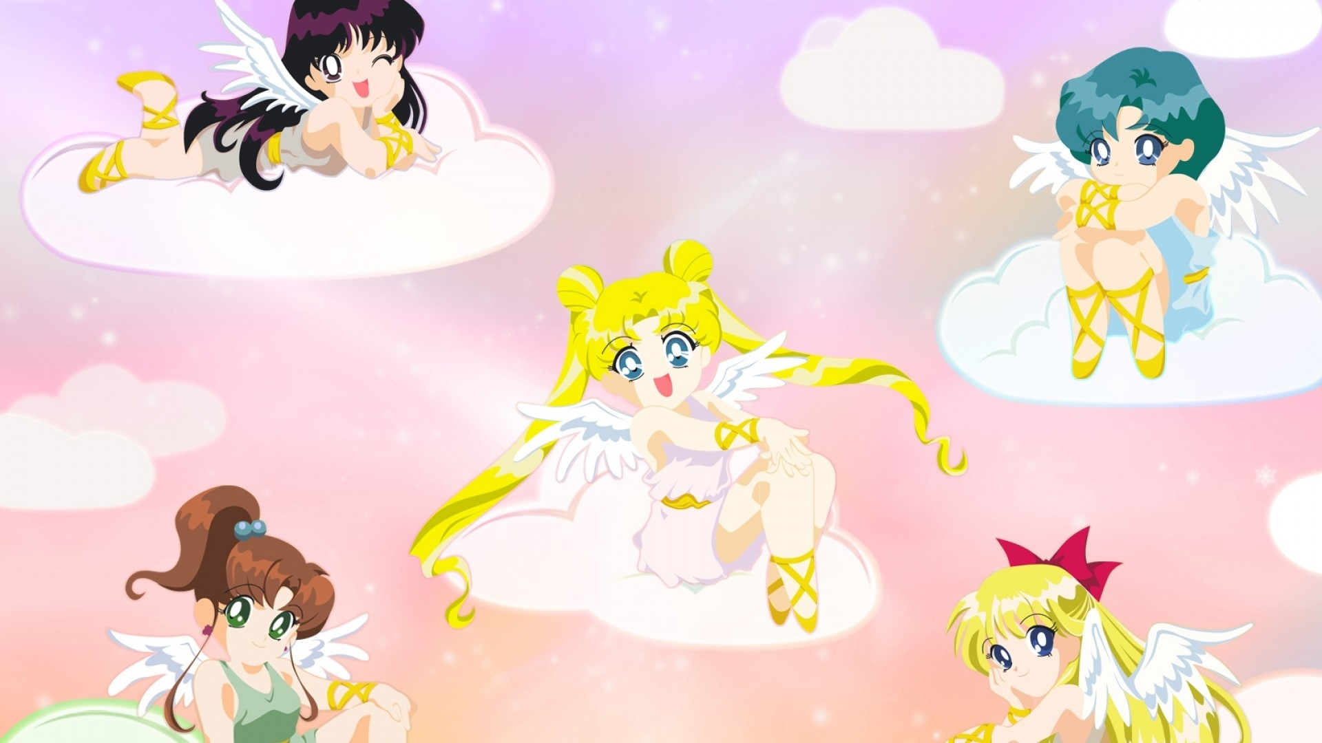 1920x1080 Preview wallpaper sailor moon, girls, clouds, smiles, angels, wings